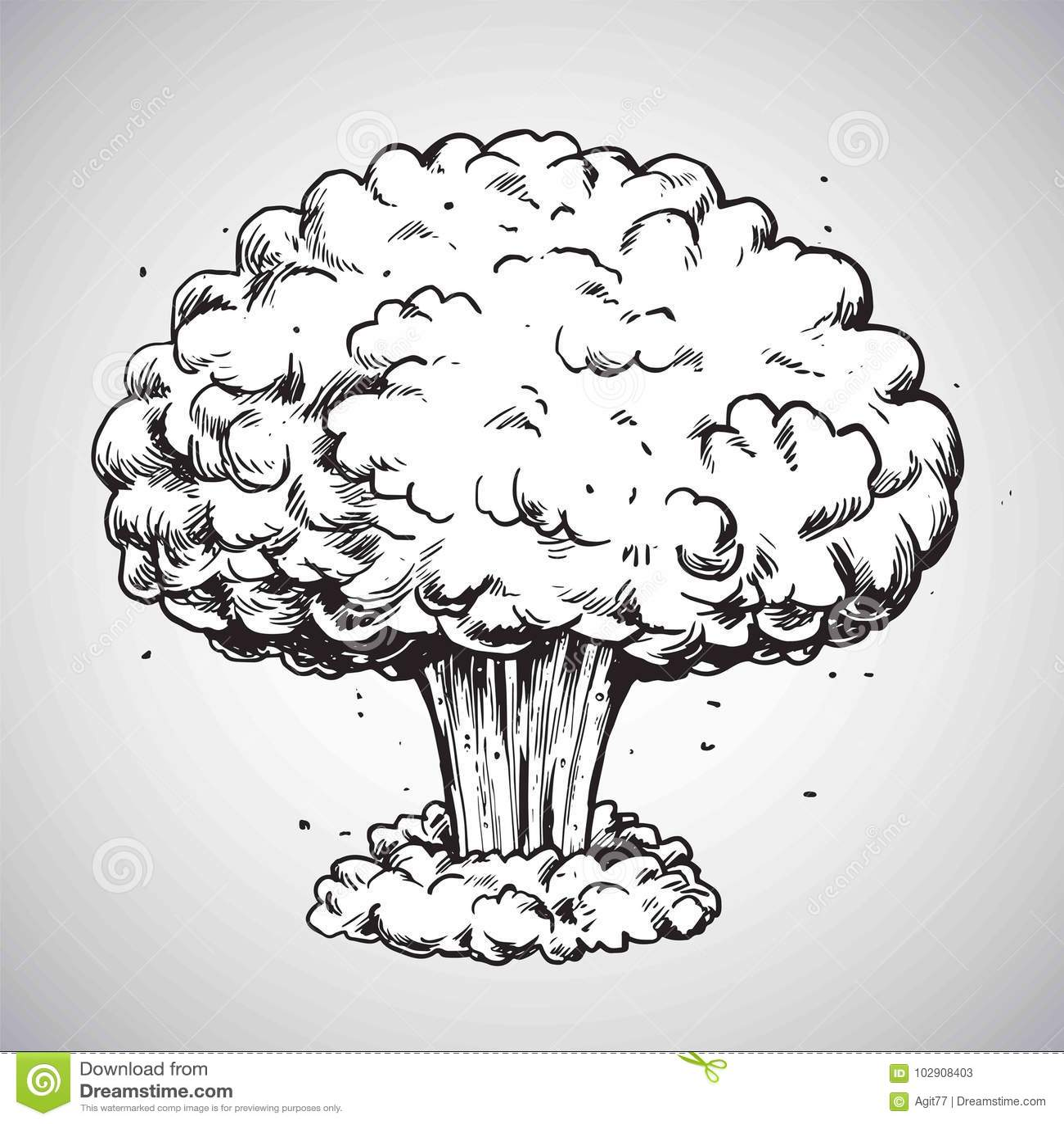 Vecteur d 39 illustration de dessin de champignon atomique d - Dessiner un champignon ...