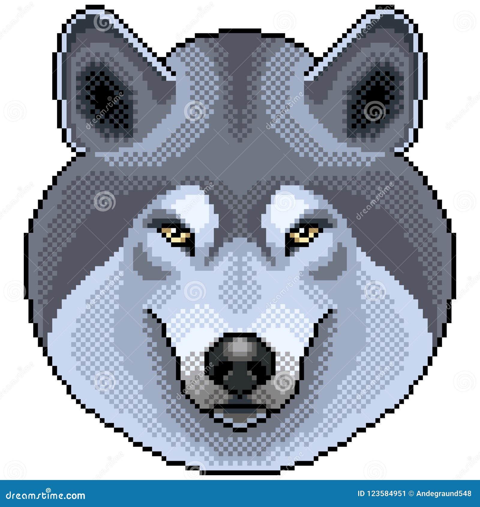 Vecteur Disolement Par Portrait De Loup De Pixel