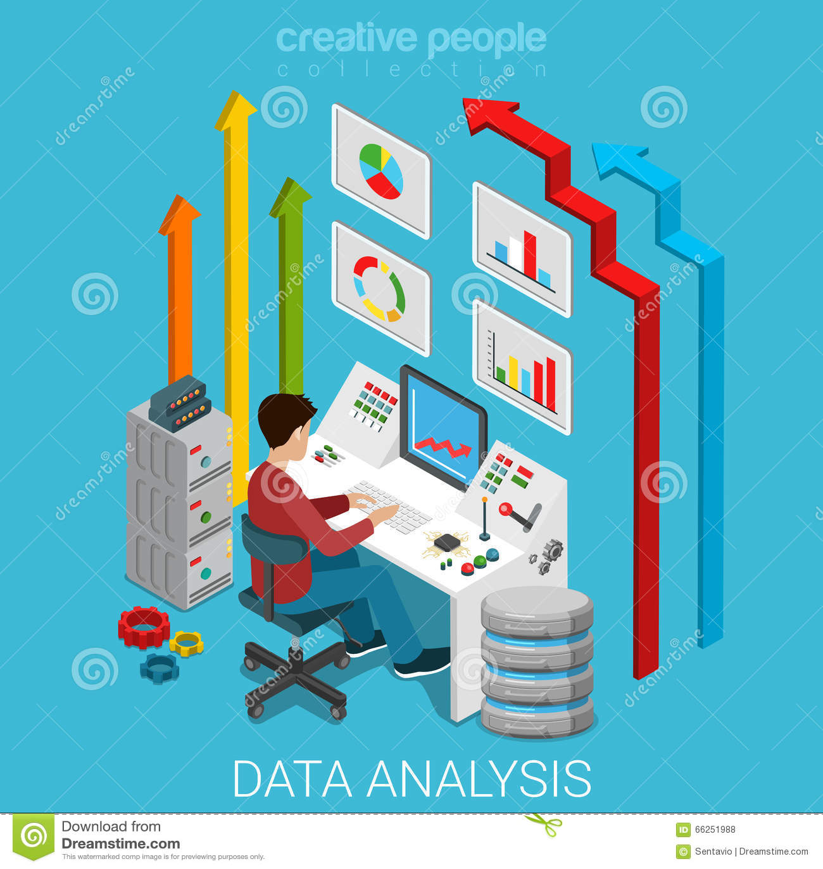Vecteur 3d plat de serveur de vente d affaires d analyse de données isométrique