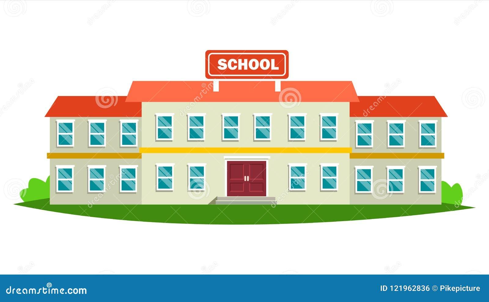 Vecteur de bâtiment scolaire Construction moderne de ville d éducation Signe urbain Yard de police Illustration plate d isolement