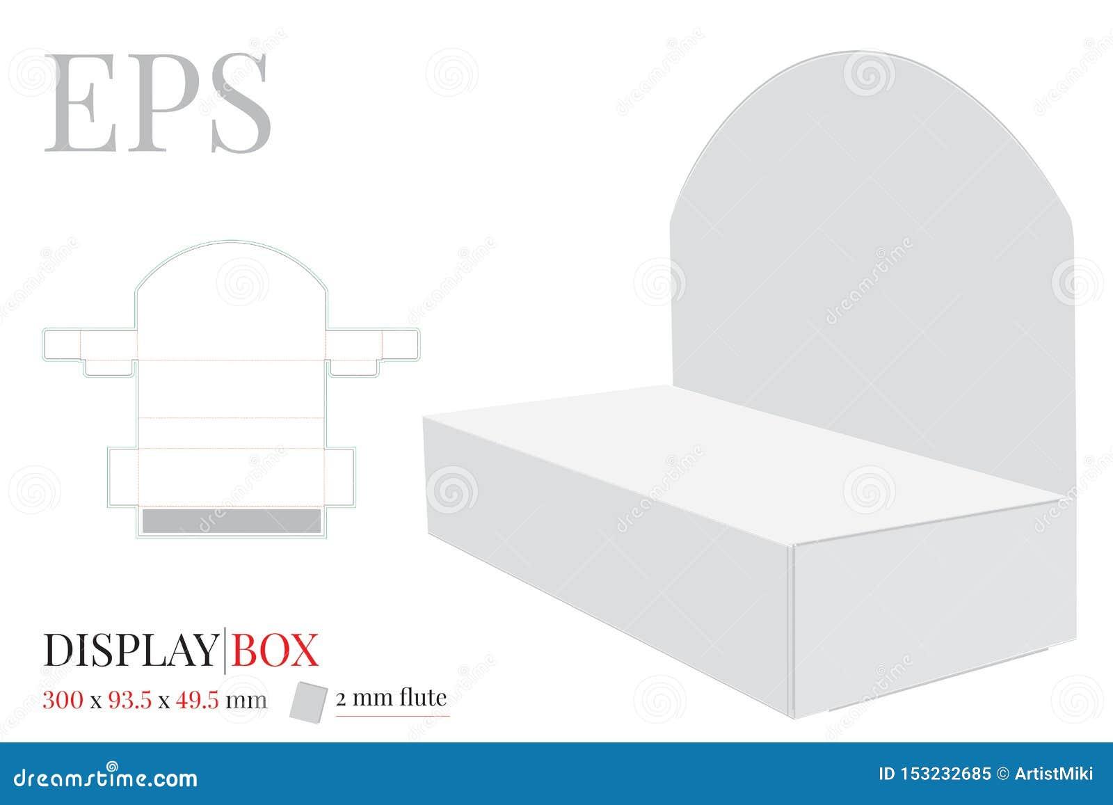 Vecteur de boîte de présentation, calibre avec découpé/de laser avec des matrices coupe, moquerie blanche, claire, vide, d isolem