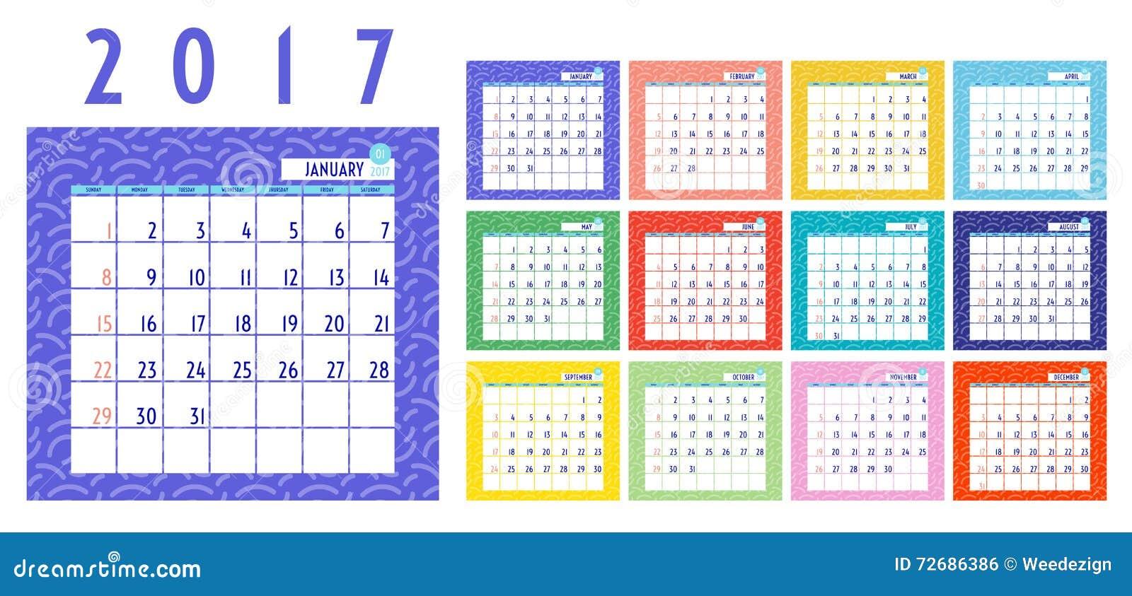 Vecteur De Calendrier 2017 Ans Calendrier De 12 Mois Avec Colore Au