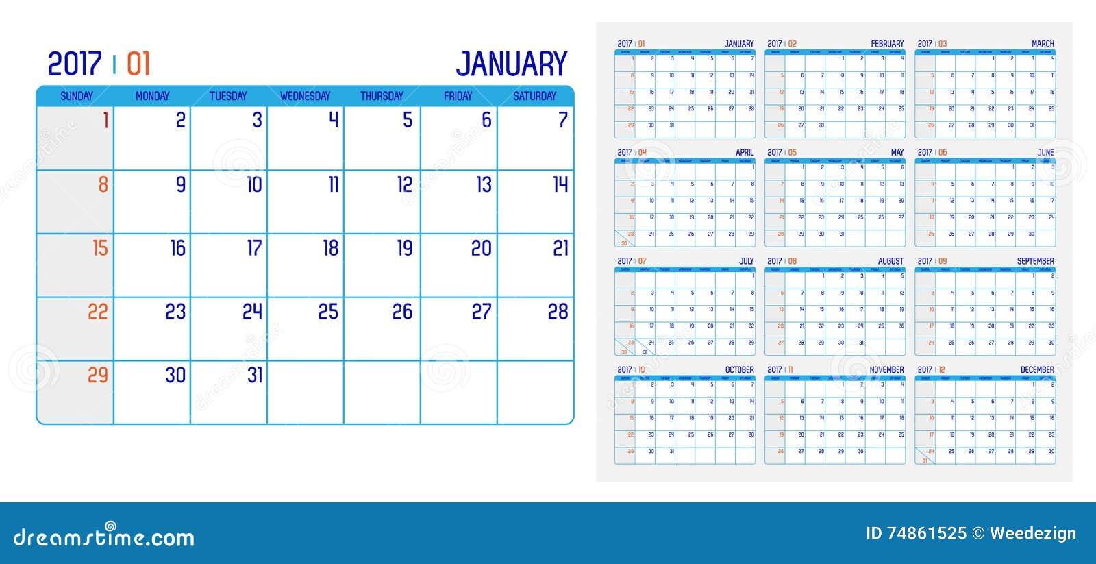 Vecteur de calendrier 2017 ans calendrier de 12 mois avec for Faire mes propres plans gratuitement