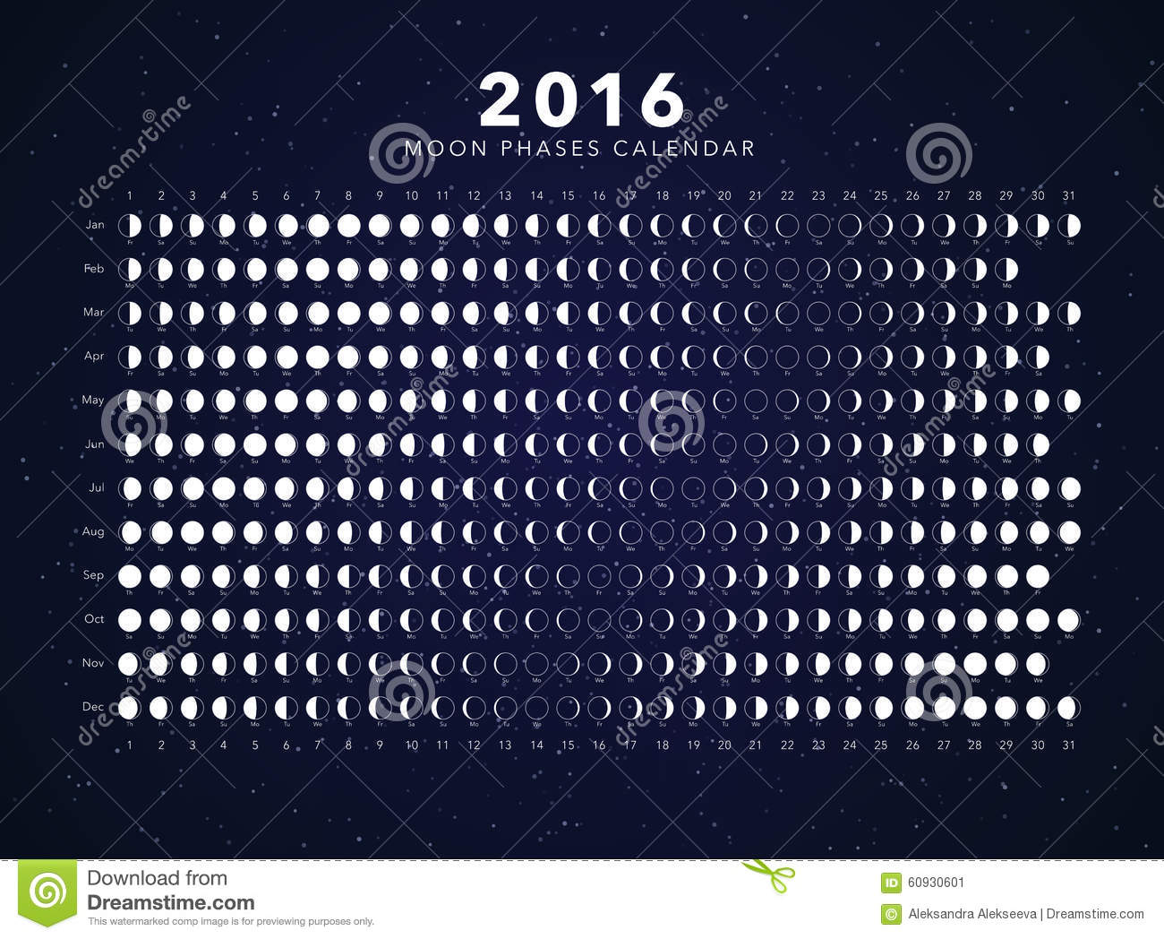 Image stock: 2016 moon phases calendar vector. Image: 60930601