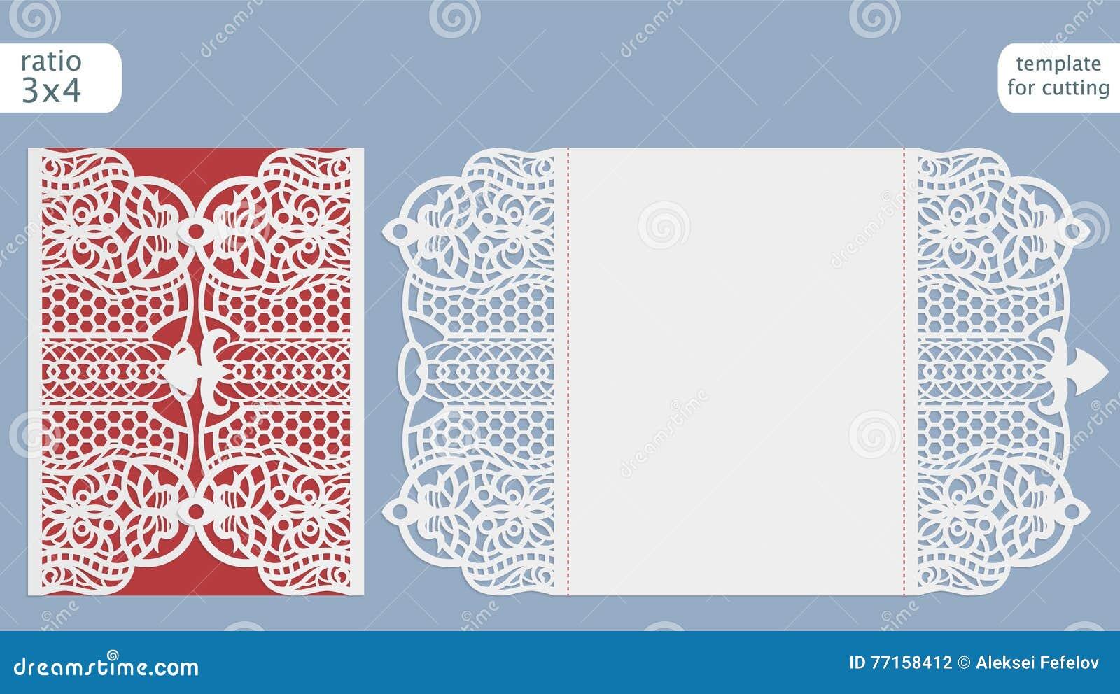 Vecteur de calibre de carte d invitation de mariage de coupe de laser Coupez la carte de papier avec le modèle de dentelle Calibr