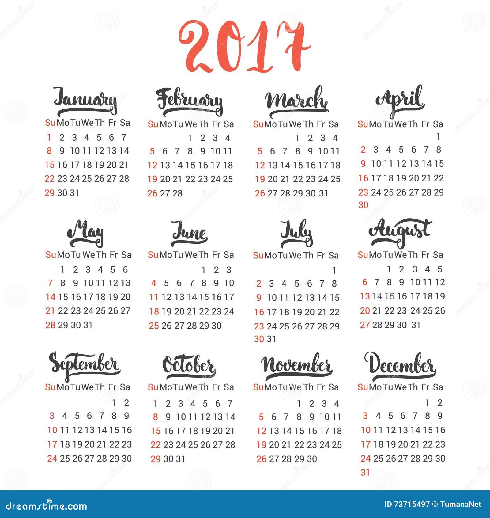 Vecteur de calibre de conception du calendrier 2017 sur le fond blanc le premier jour de la - Mois du blanc 2017 ...