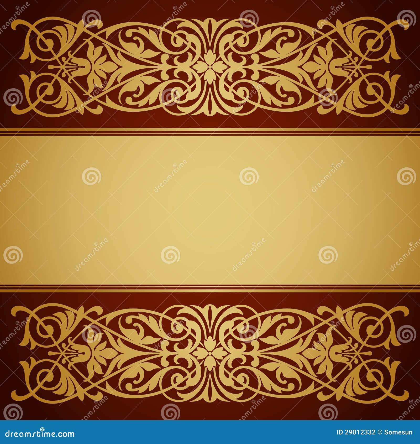 Vecteur de calligraphie de fond d or de trame de cadre de cru