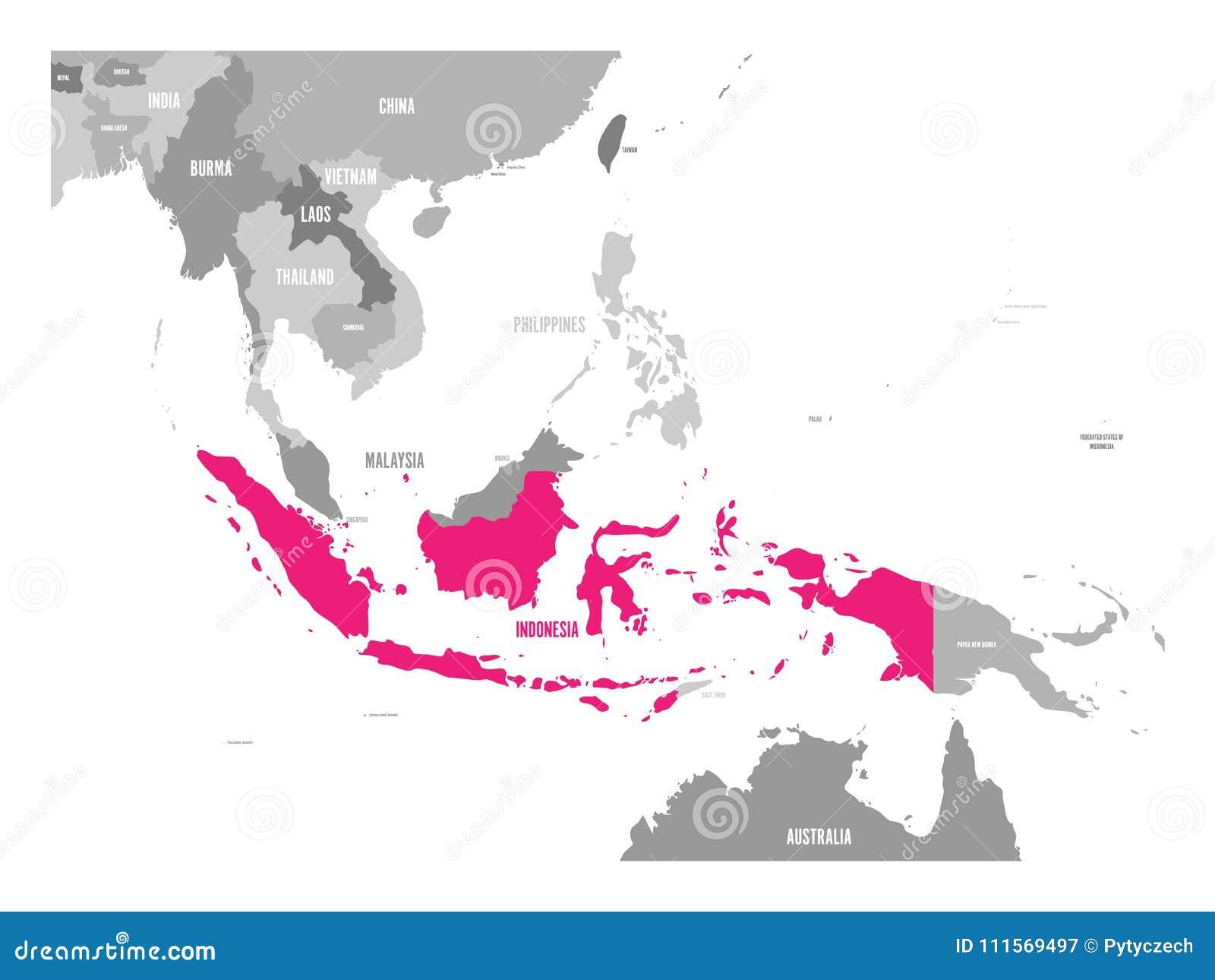 Carte Asie Indonesie.Vecteur De Carte De L Indonesie Rose Accentue Dans La Region