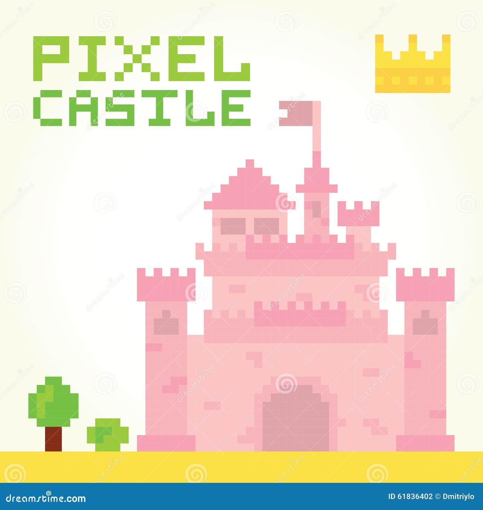 Vecteur de château de fille d art de pixel