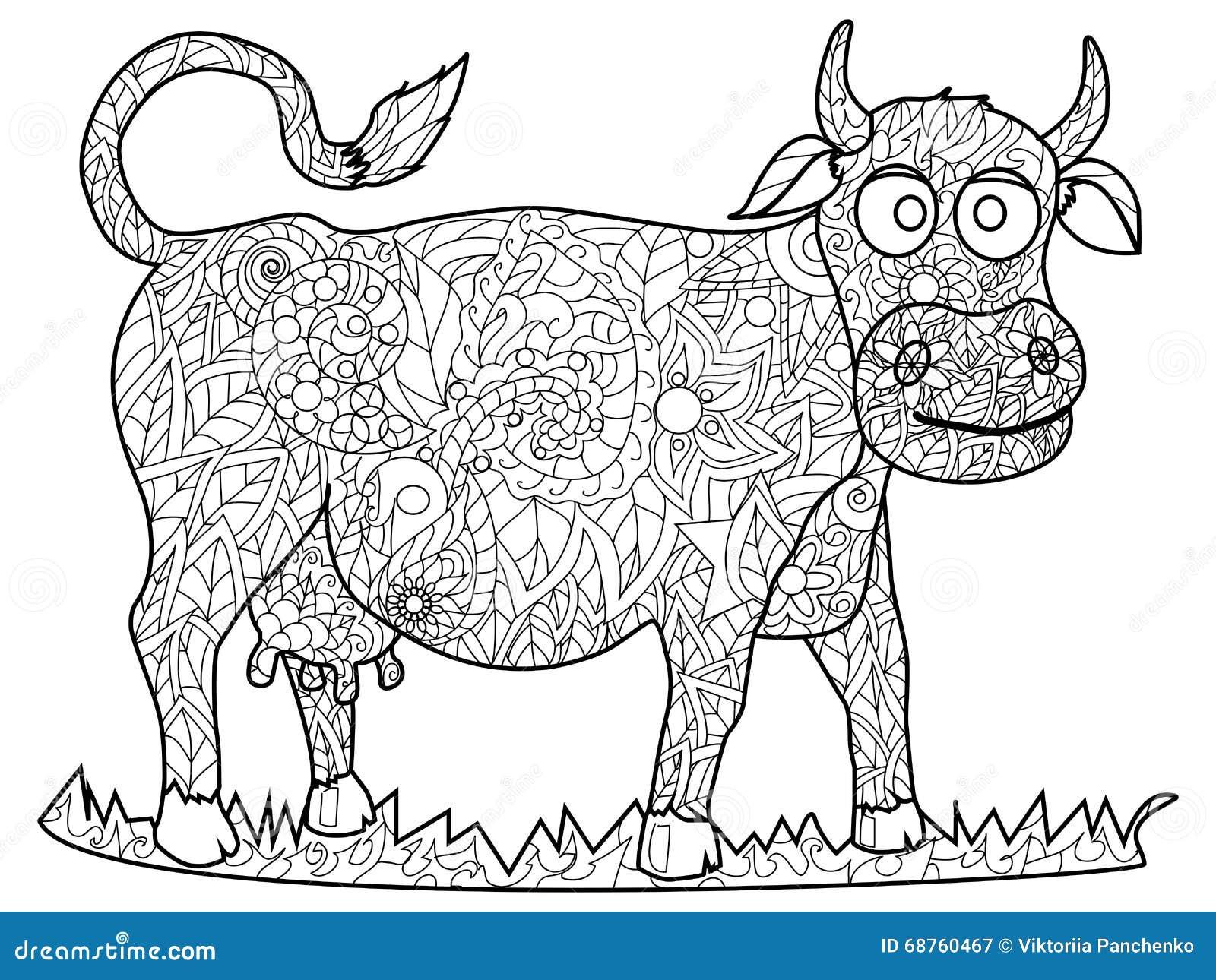 Vecteur De Coloration De Vache Pour Des Adultes