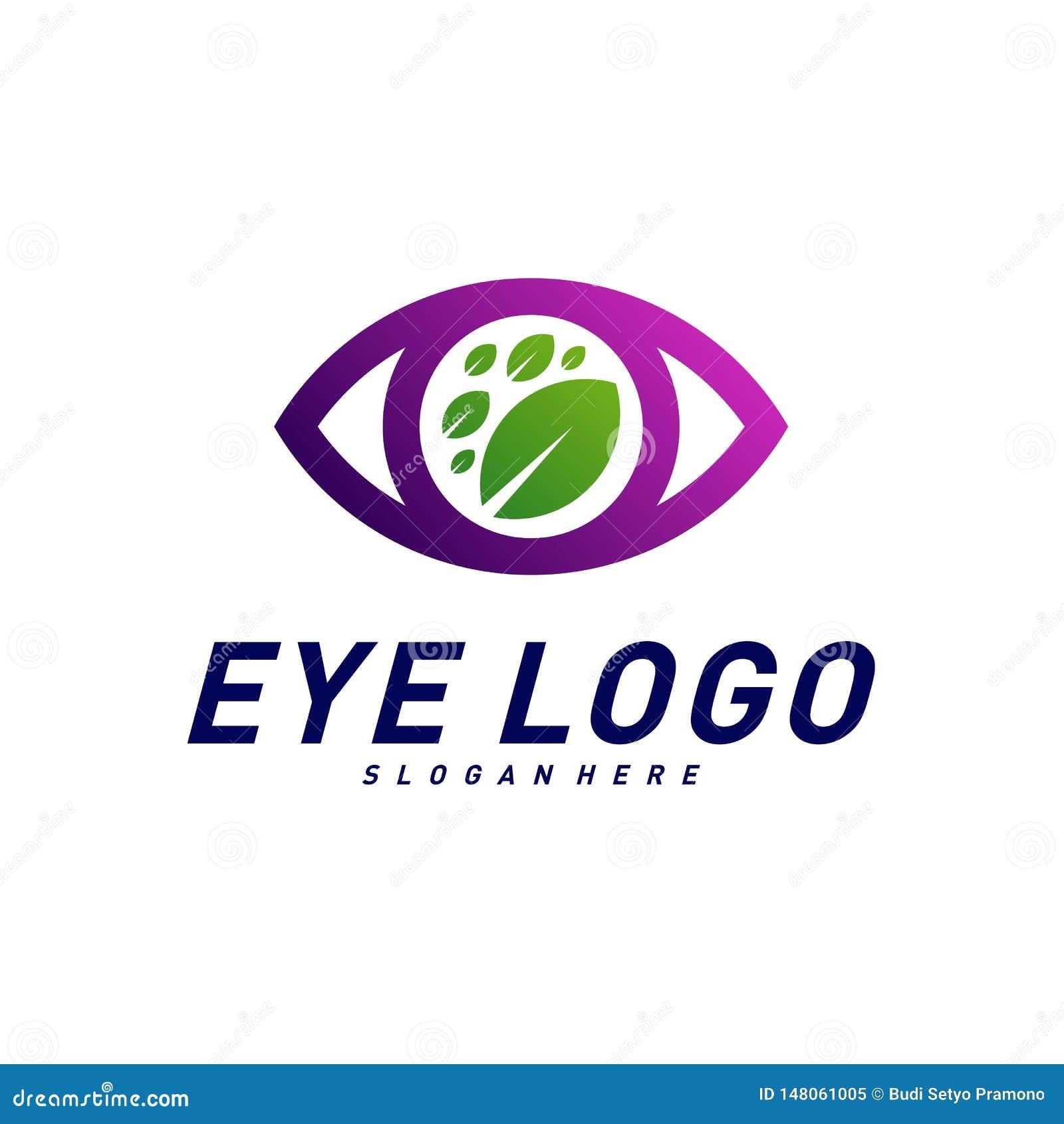 Vecteur de concept de construction de logo d oeil de nature, oeil avec le calibre de logo de feuille, symbole d ic?ne