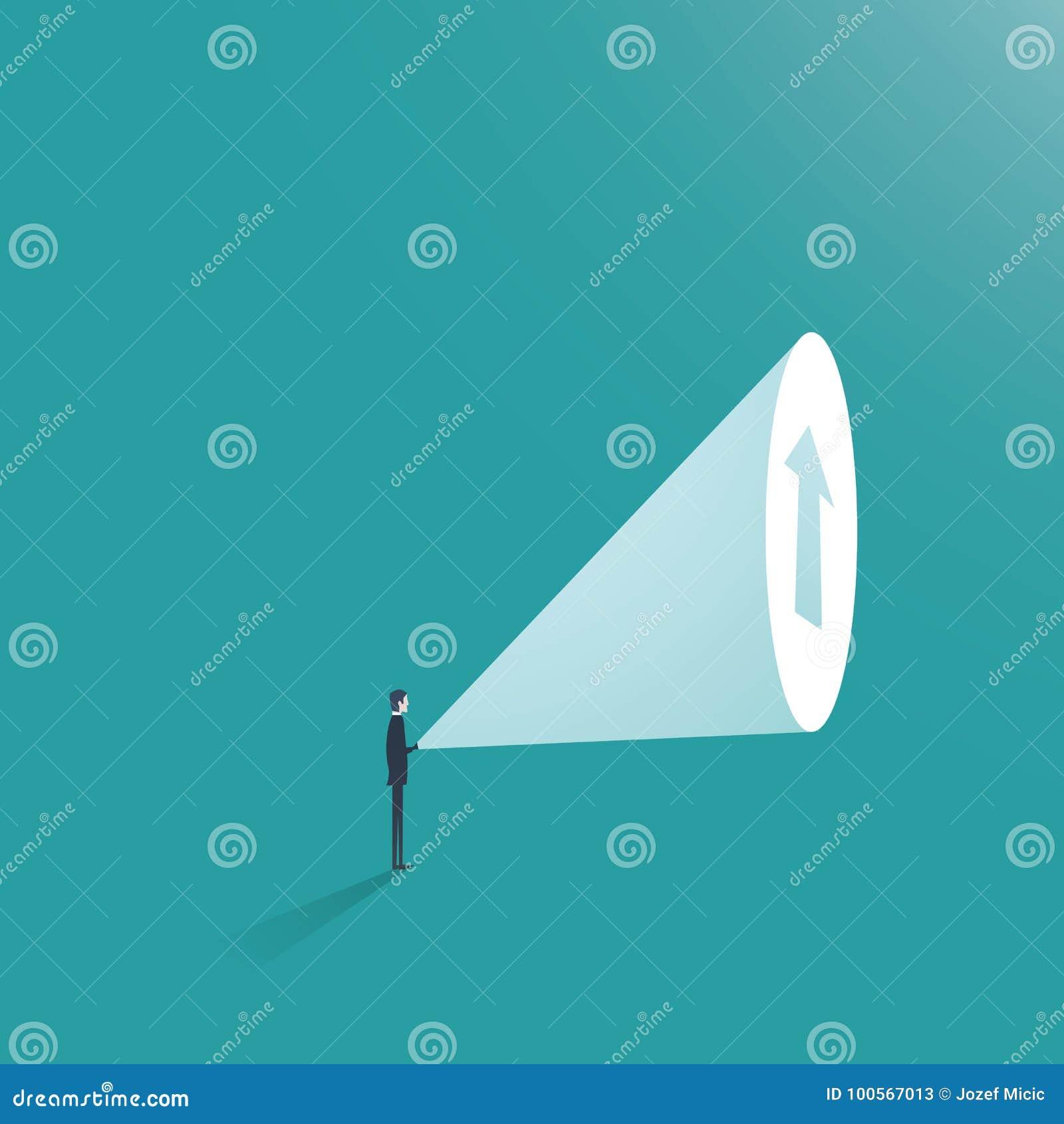 Vecteur de concept d affaires d ambition d homme d affaires Homme d affaires avec la lampe-torche et flèche comme symbole de la p