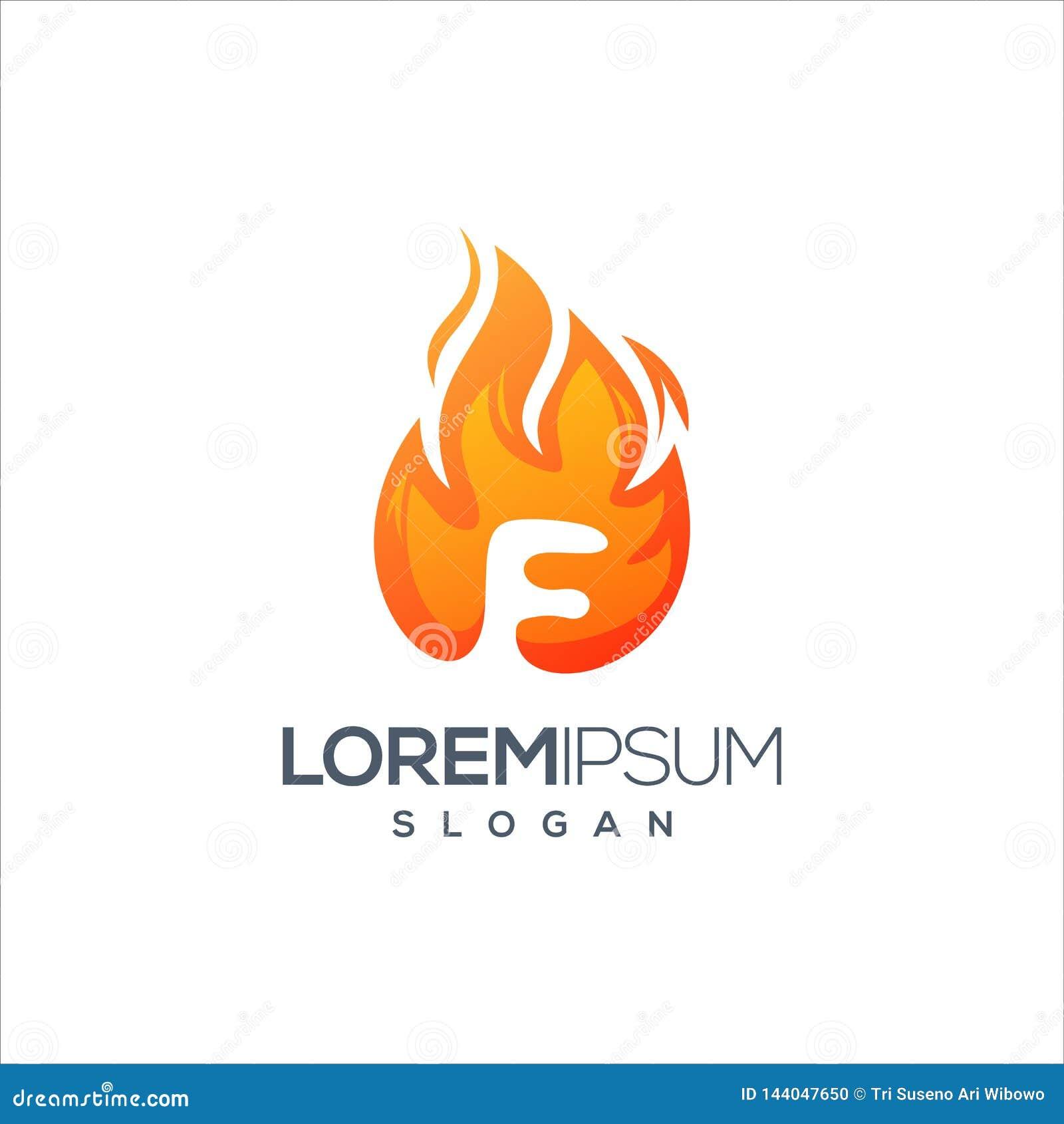 Vecteur de conception de logo du feu de la lettre F