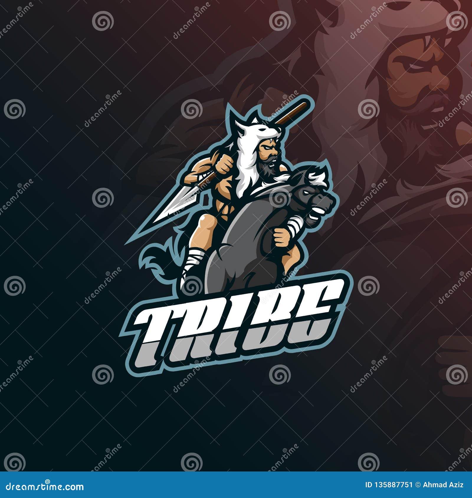 Vecteur de conception de logo de mascotte de tribu avec le style moderne de concept d illustration pour l impression d insigne, d