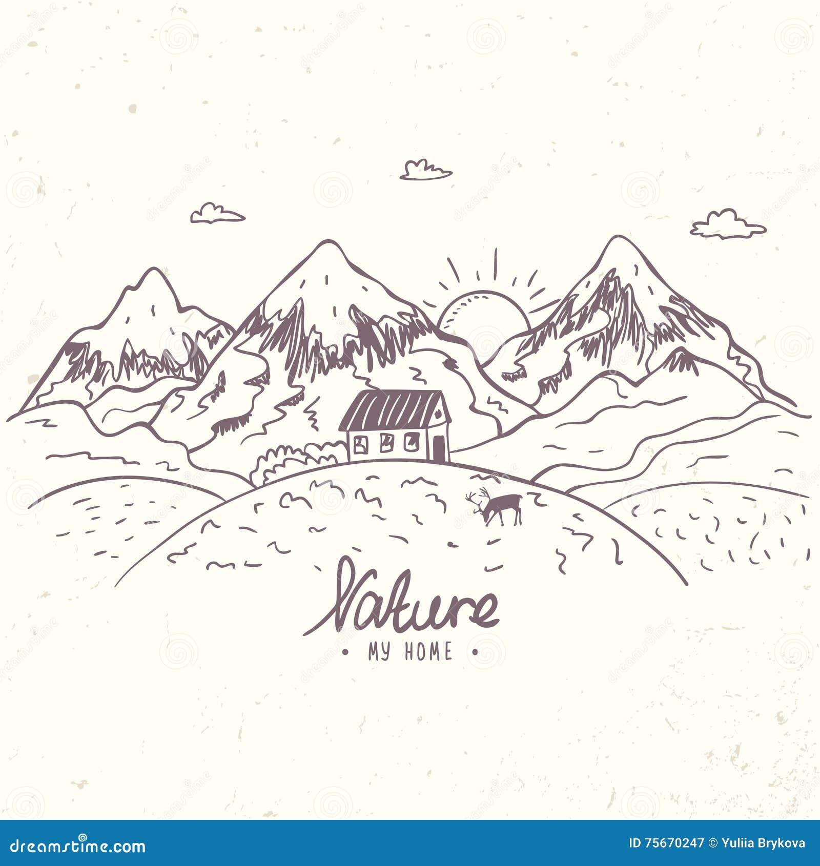 vecteur de croquis de montagne illustration de vecteur illustration du aventure outdoors. Black Bedroom Furniture Sets. Home Design Ideas