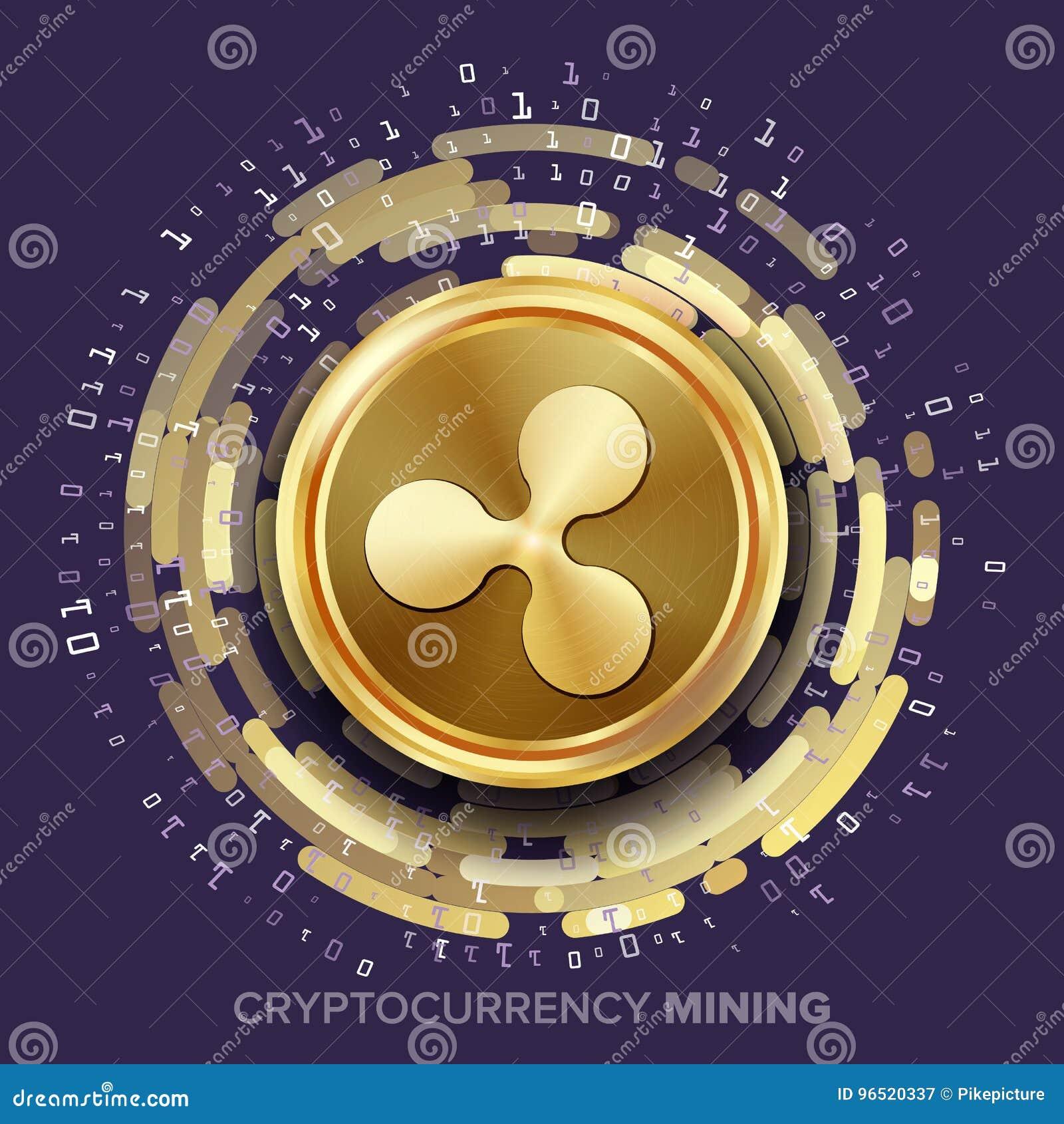 Vecteur de Cryptocurrency d ondulation d exploitation Pièce de monnaie d or, courant de Digital
