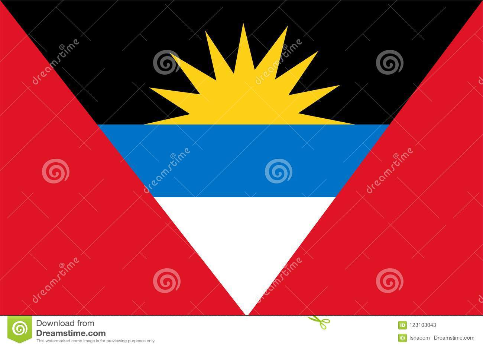 Vecteur de drapeau de l Antigua et du Barbuda Illustration de l Antigua et du Barbuda