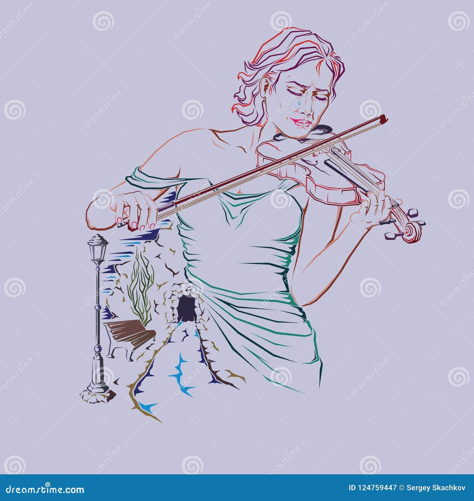 Vecteur de fille de Seul-violon