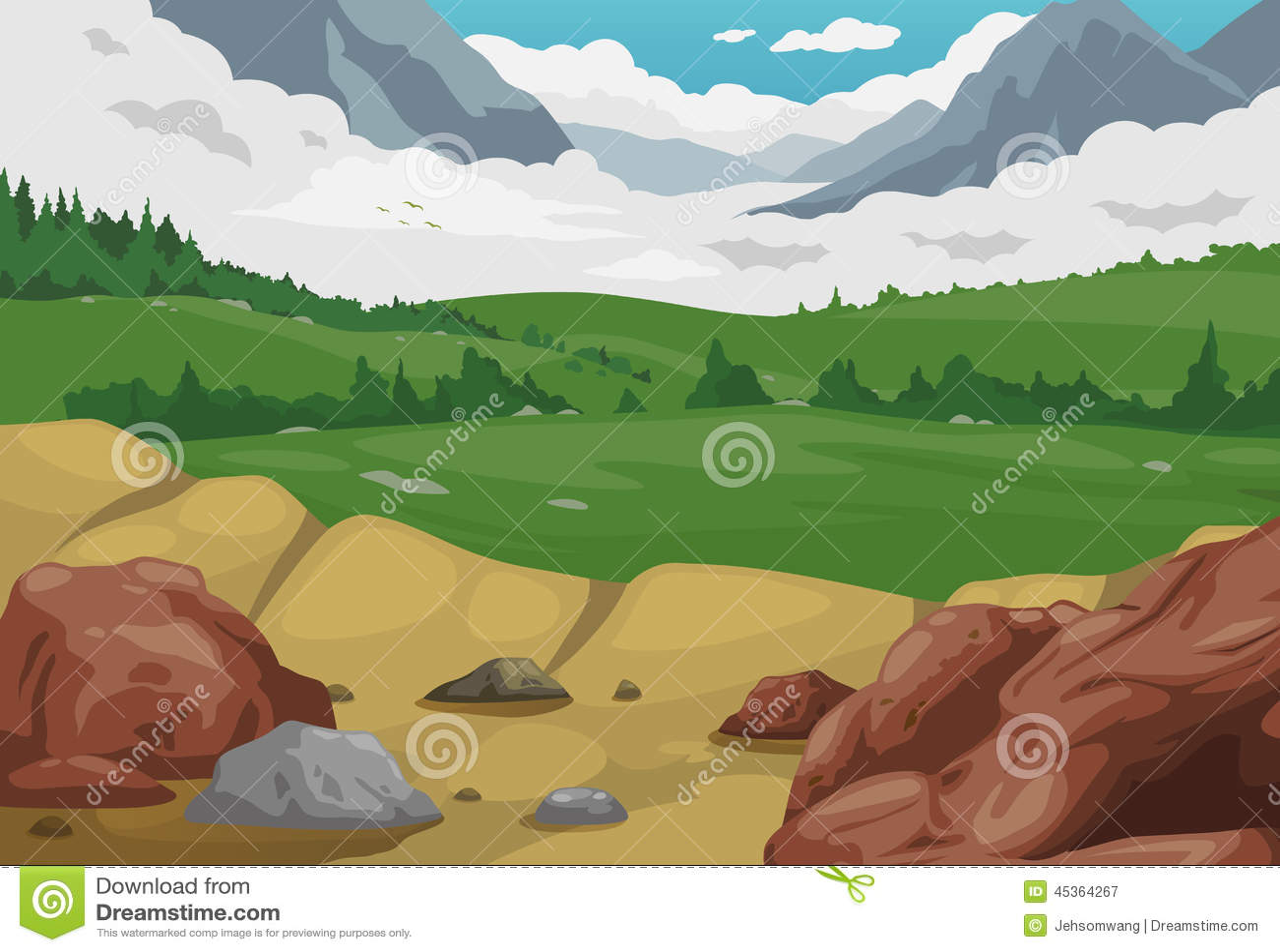 Vecteur de fond de paysage de montagnes