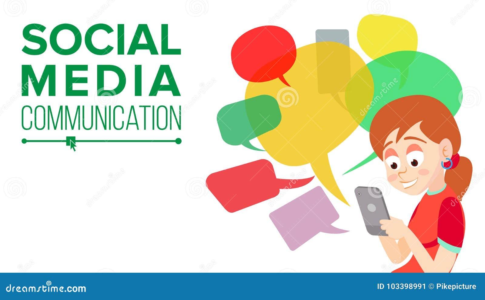 Vecteur de l adolescence de transmission de messages de fille Communiquez sur l Internet Causerie sur le réseau Utilisant Smartph