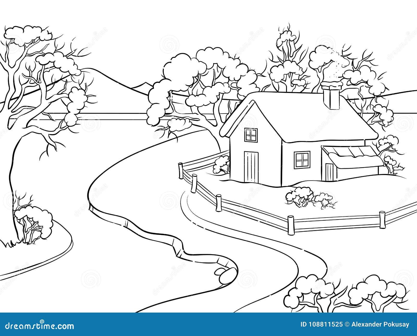 Vecteur de livre de coloriage de paysage d 39 hiver illustration de vecteur illustration du - Coloriage de paysage ...