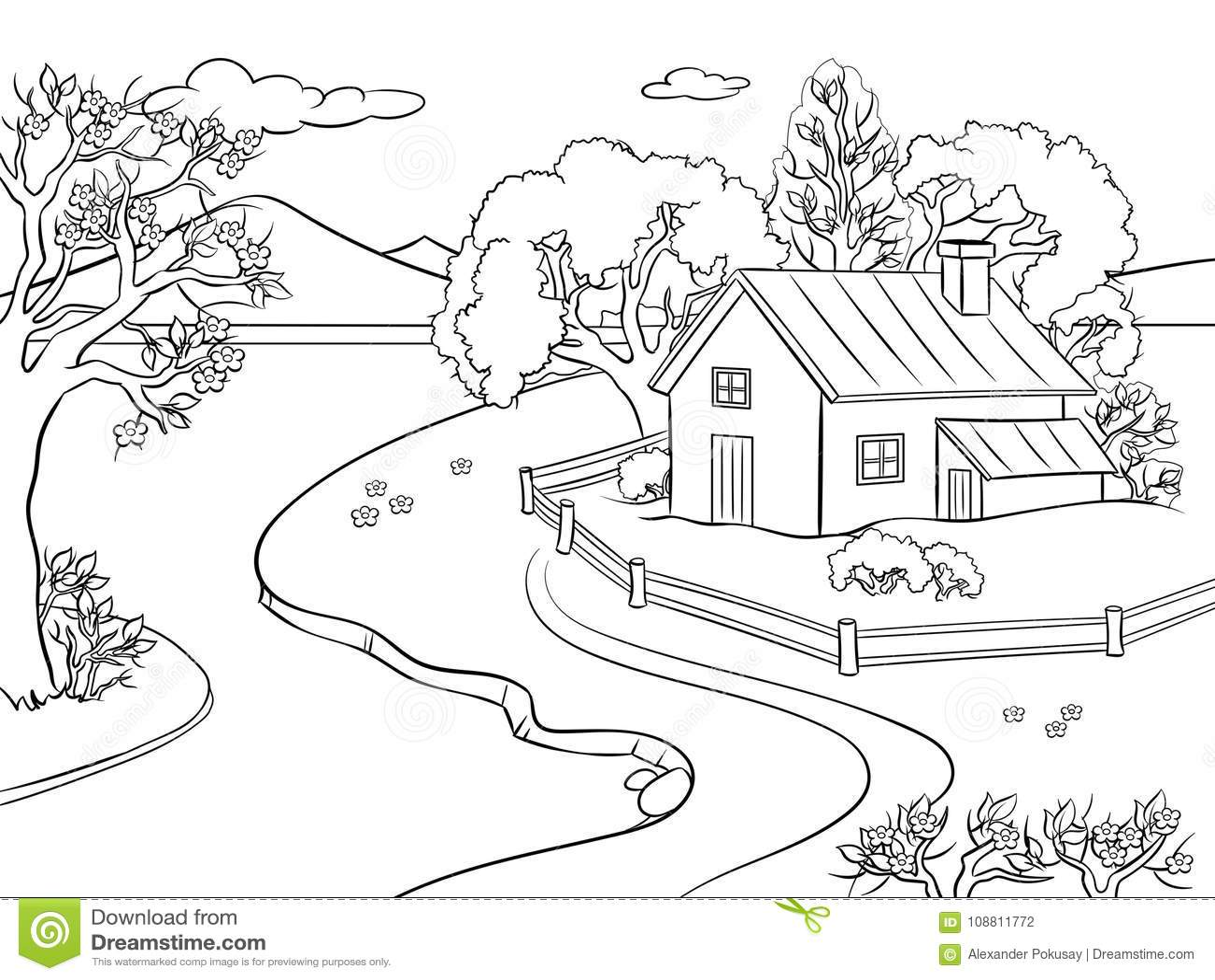Vecteur De Livre De Coloriage De Paysage De Ressort Illustration De Vecteur Illustration Du Paysage Vecteur 108811772