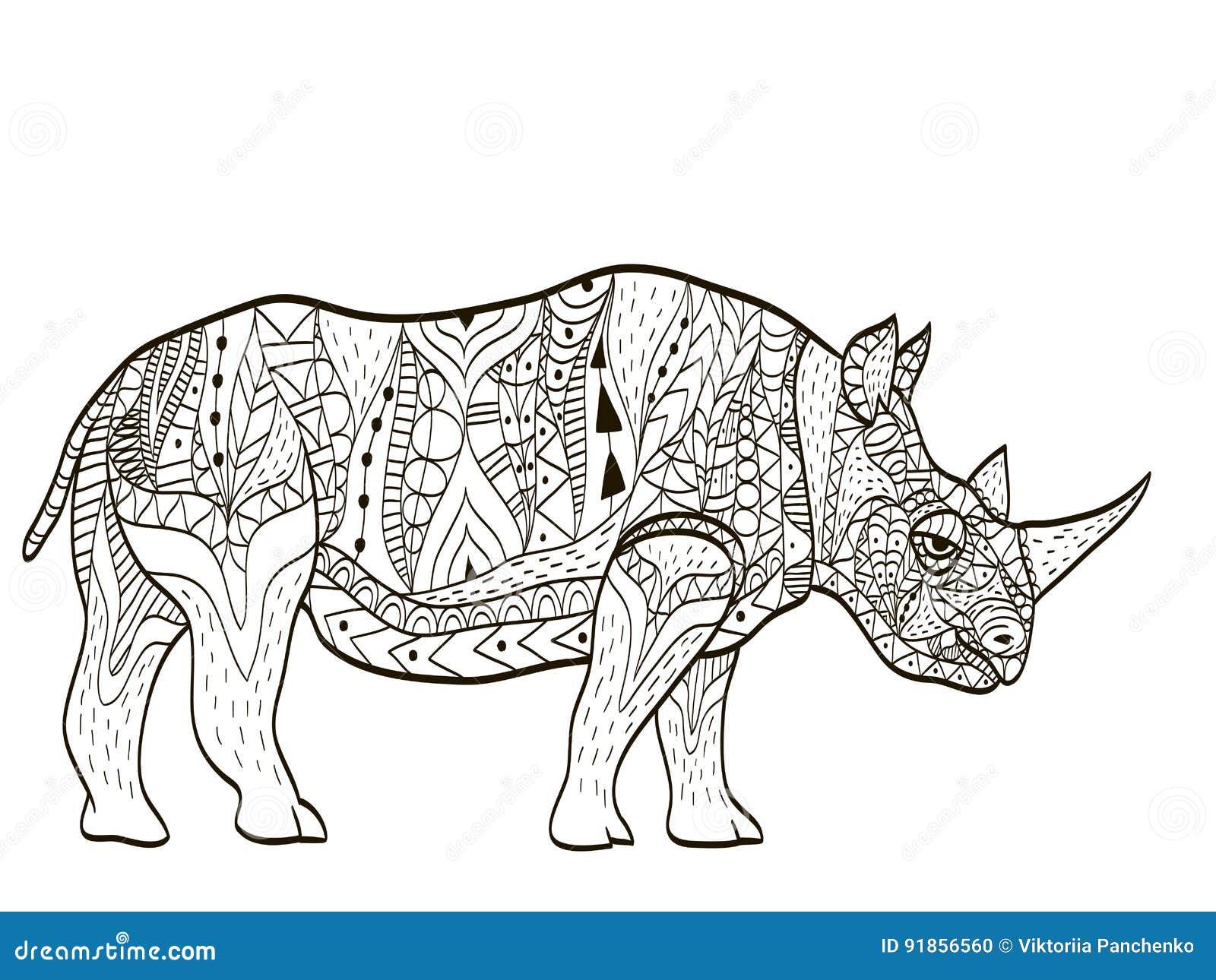 Coloriage Animaux Adulte.Vecteur De Livre De Coloriage D Hippopotame Pour Des Adultes