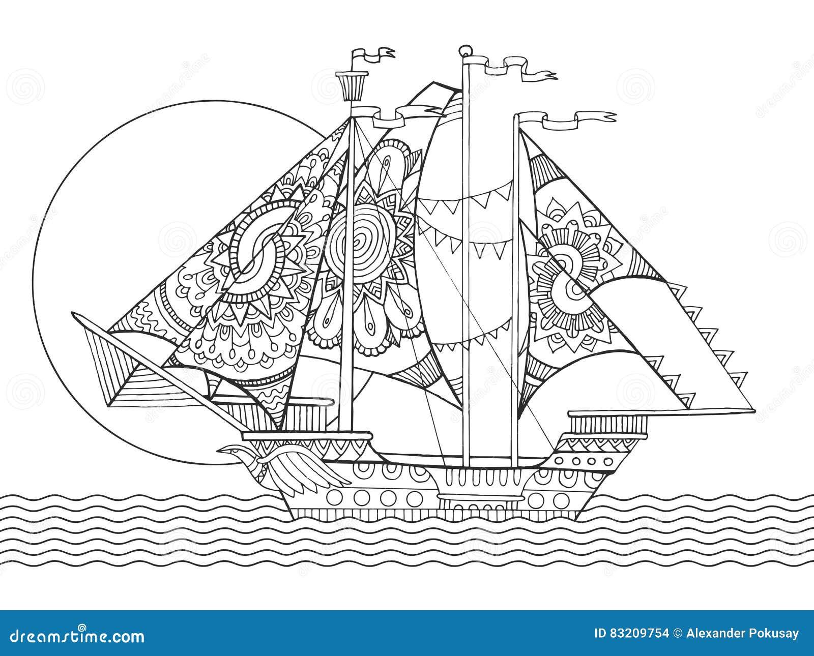 Vecteur De Livre De Coloriage De Dessin De Bateau De Navigation Illustration De Vecteur Illustration Du Bateau Vecteur 83209754