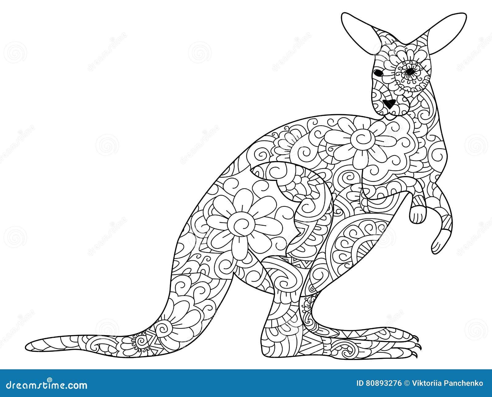 Coloriage Kangourou.Vecteur De Livre De Coloriage De Kangourou Pour Des Adultes