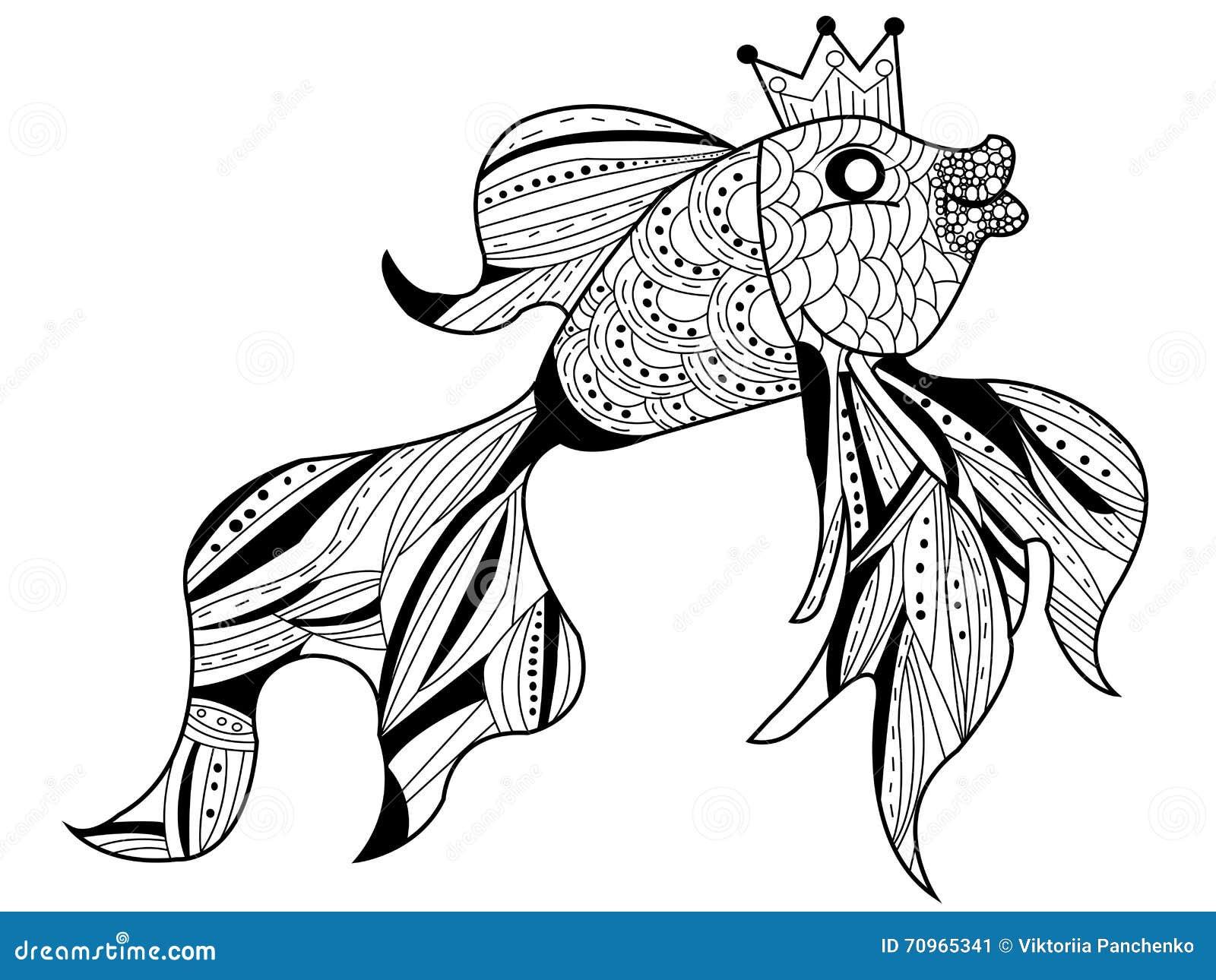 Vecteur de livre de coloriage de poisson rouge pour des - Coloriage poisson rouge ...