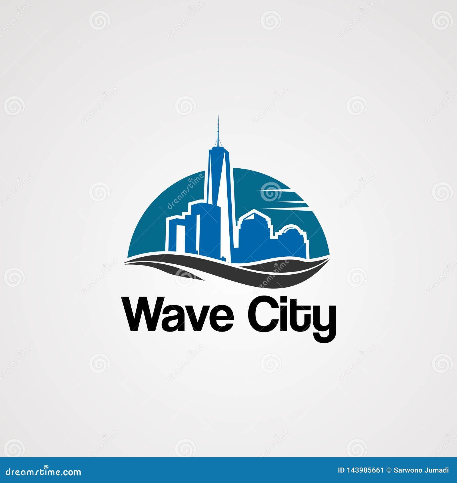 Vecteur de logo de ville de vague avec l horizon sur le concept, l élément, l icône, et le calibre du soleil pour la société