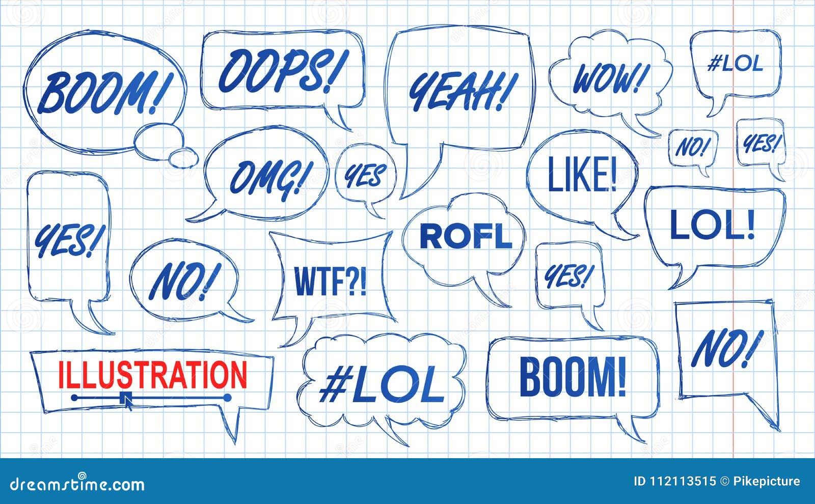 Vecteur de Lol Speech Bubbles Skech Set Symbole d amusement émotion Expression du visage Expressions Lol Stickers tiré par la mai