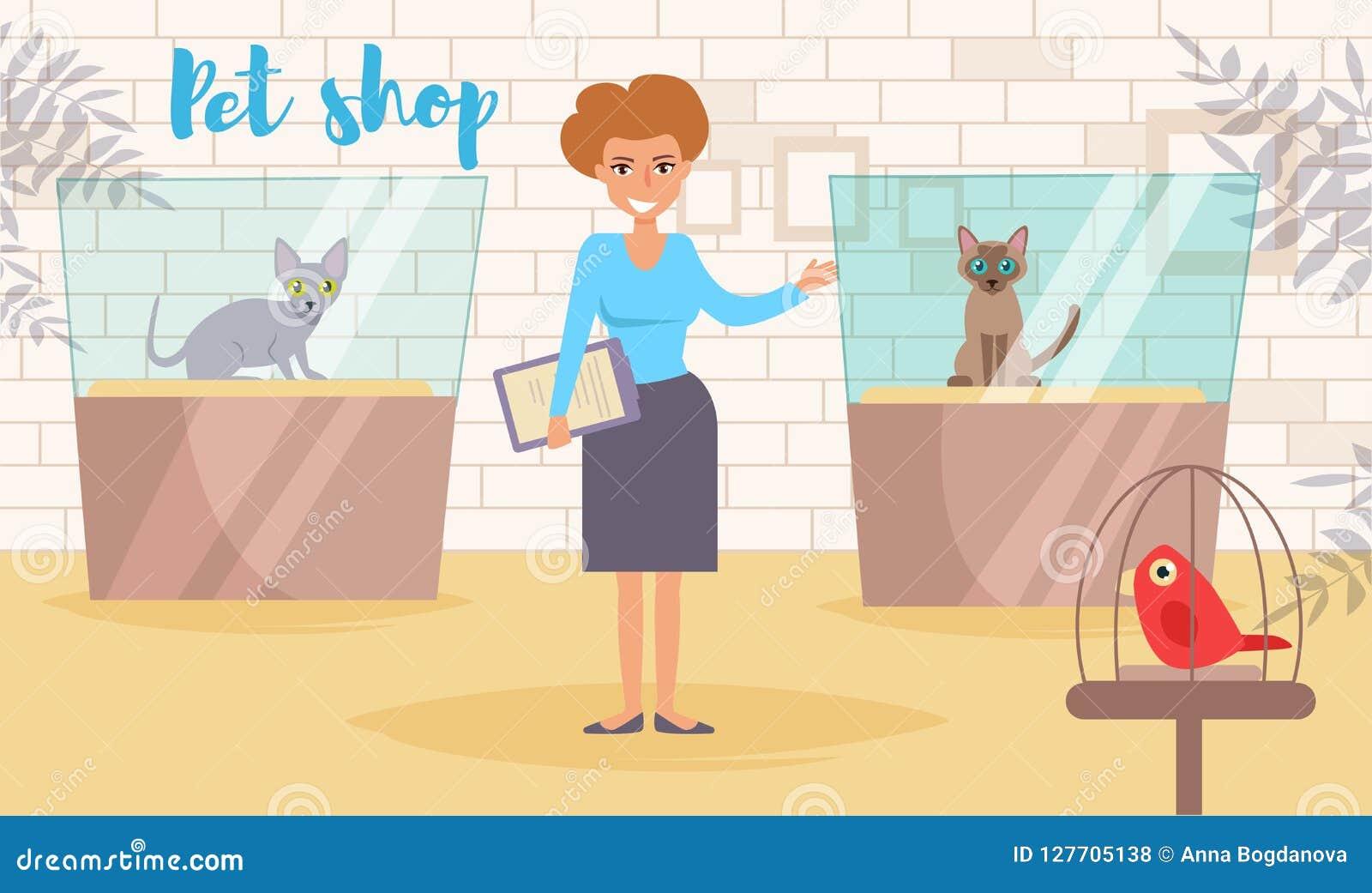 Vecteur de magasin de bêtes cartoon Art d isolement Femme plate d exposition de chat