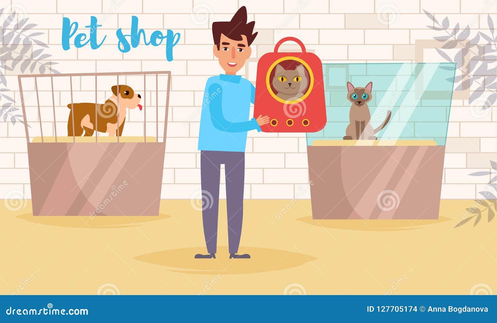 Vecteur de magasin de bêtes cartoon Art d isolement Homme plat d exposition de chat