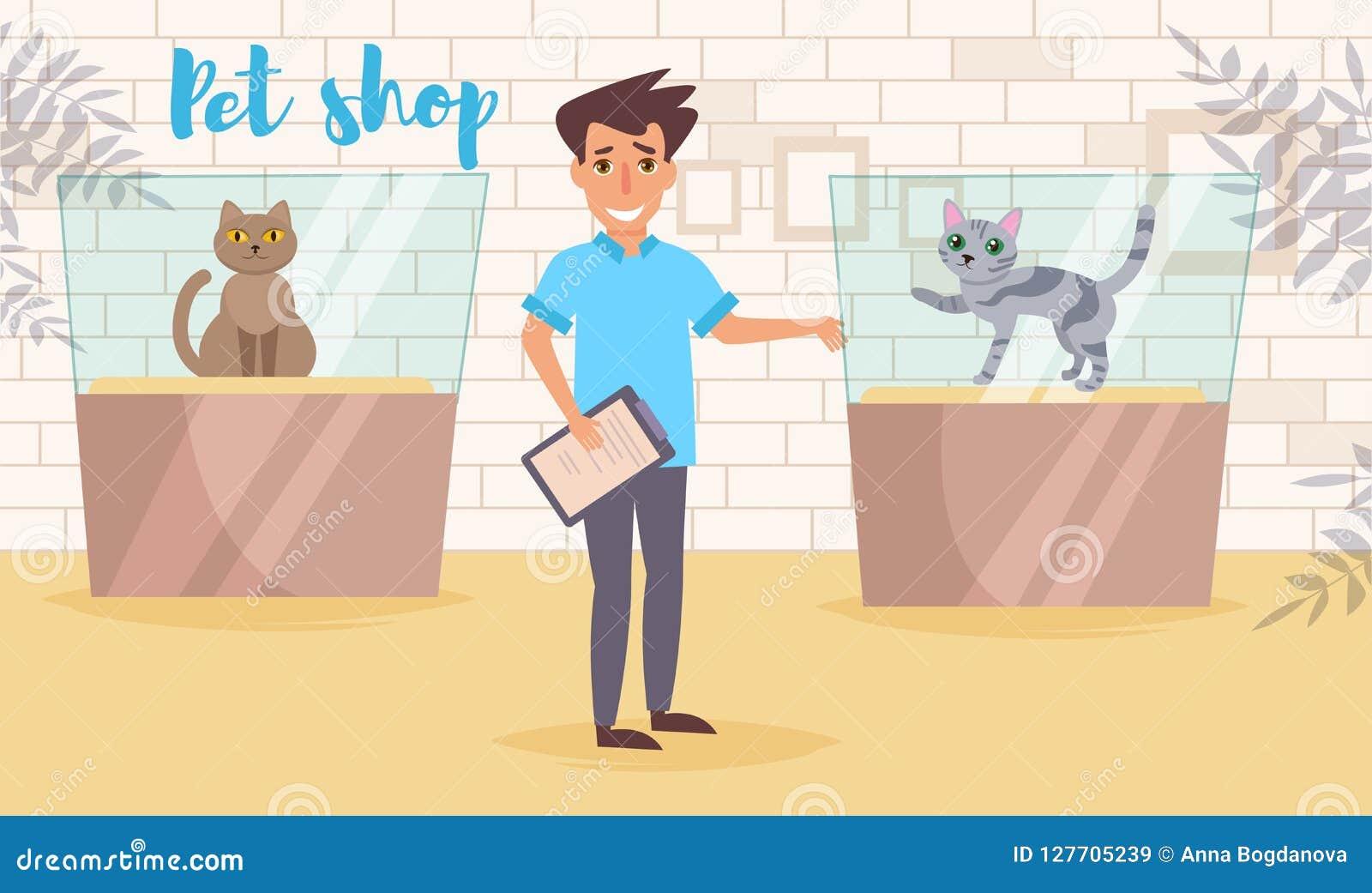 Vecteur de magasin de bêtes cartoon Art d isolement Travail plat d exposition de chat