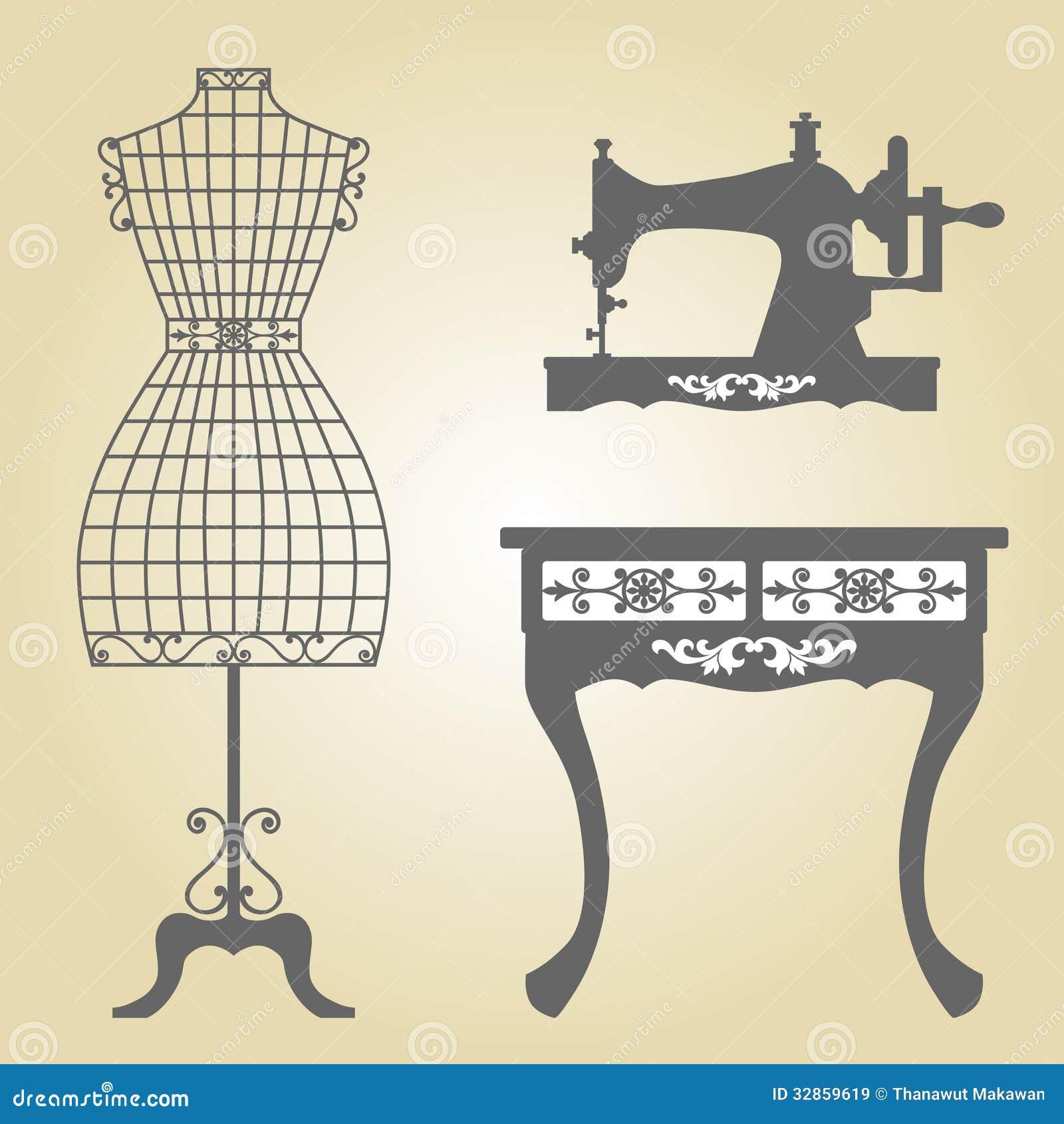Vecteur de mannequin de vintage et de machine coudre for Machine a coudre nature et decouverte