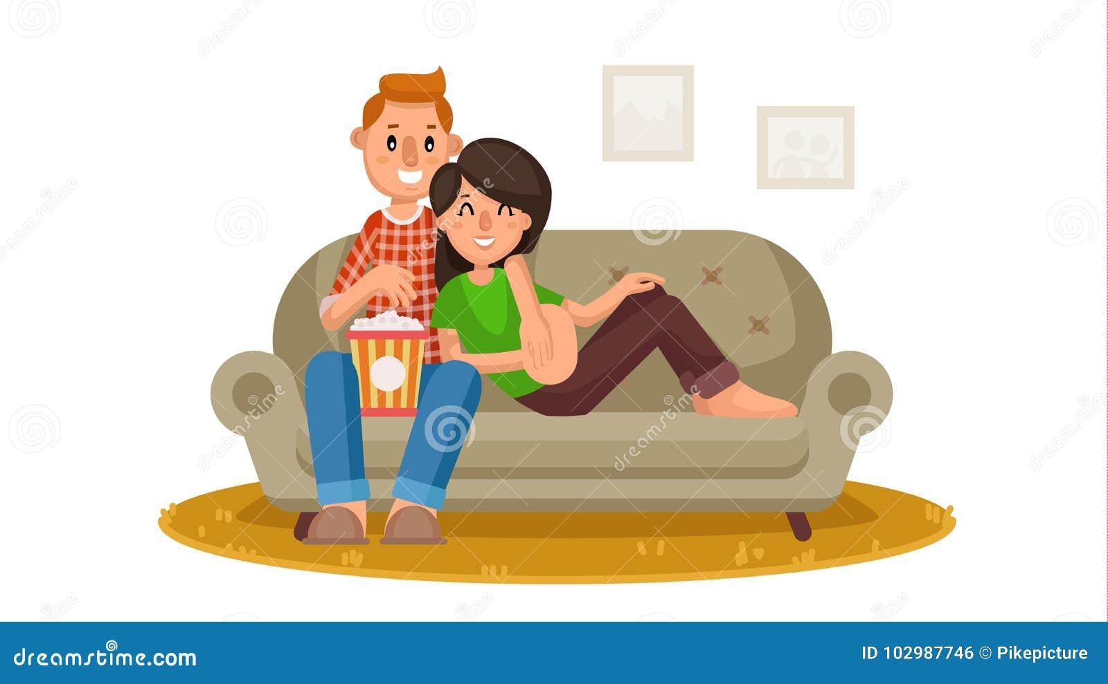 Vecteur De Observation De Télévision De Famille Heureuse Person Sitting On  The Couch Et Détente à La Maison Loisirs De Famille Cinéma à La Maison En  Ligne ...