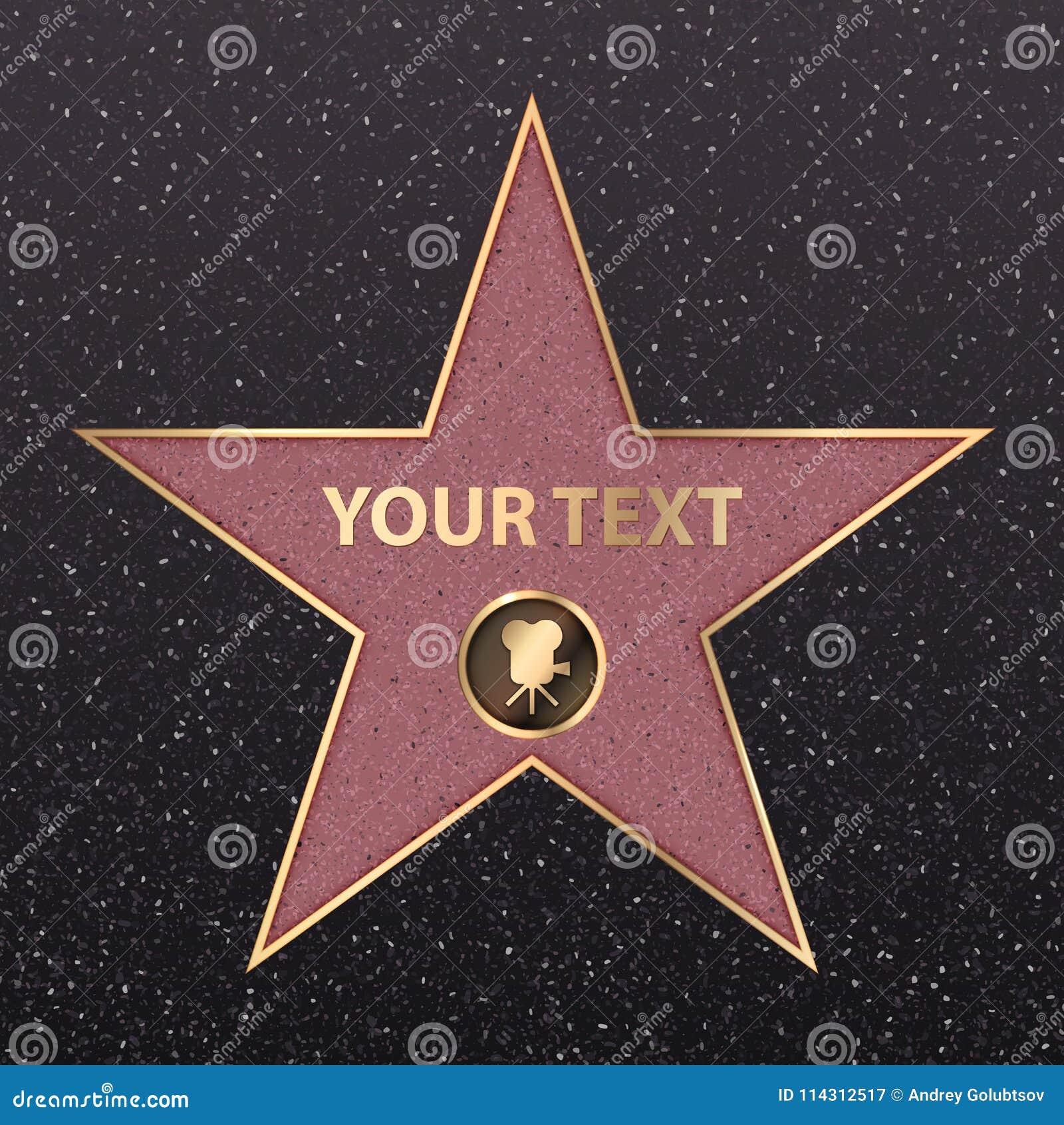 Vecteur de promenade de renommée de célébrité de star d Hollywood d or