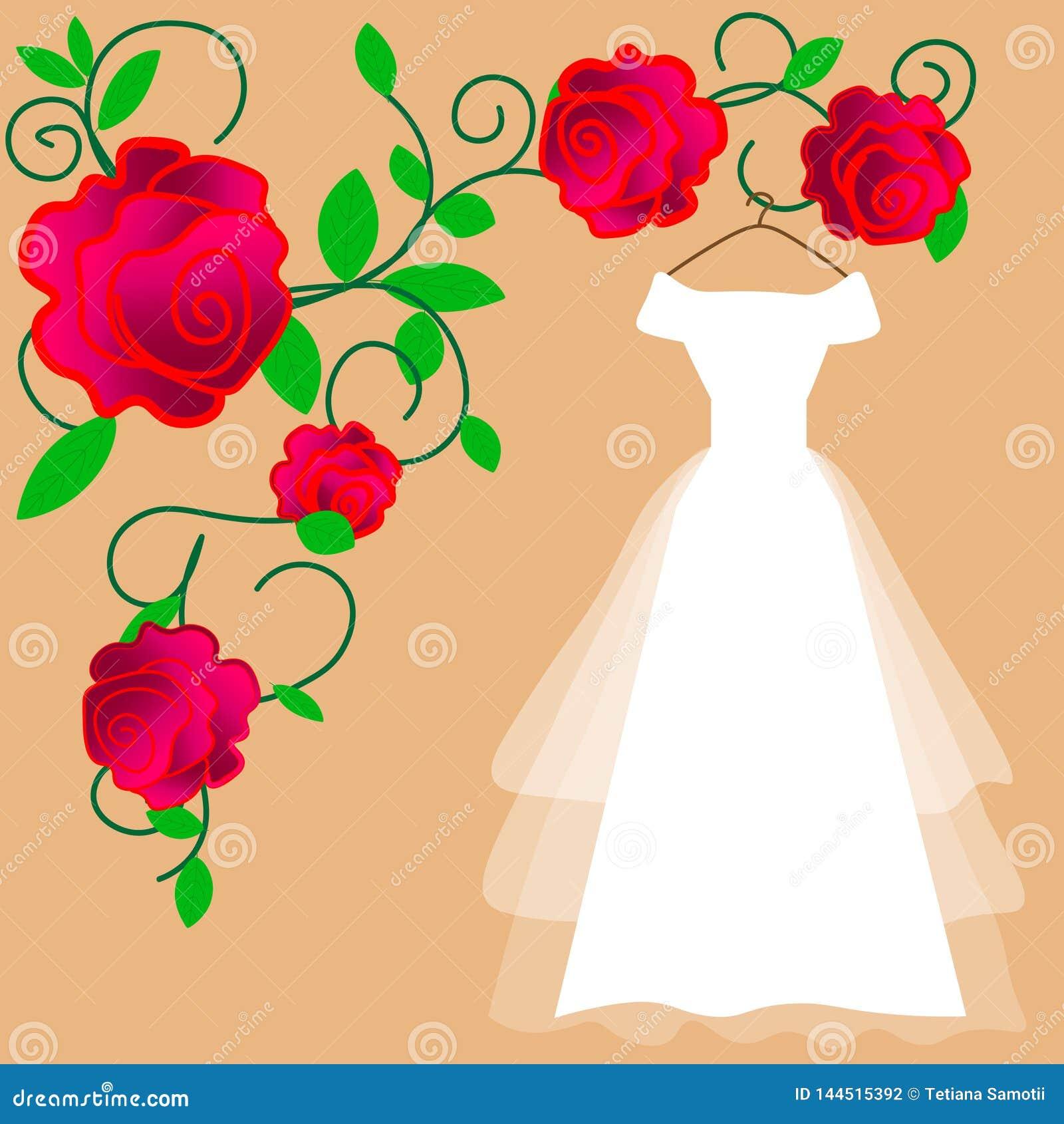 Vecteur de robe de mariage Conception plate Robe blanche élégante avec voiler et arc pour la jeune mariée accrochant sur le cintr