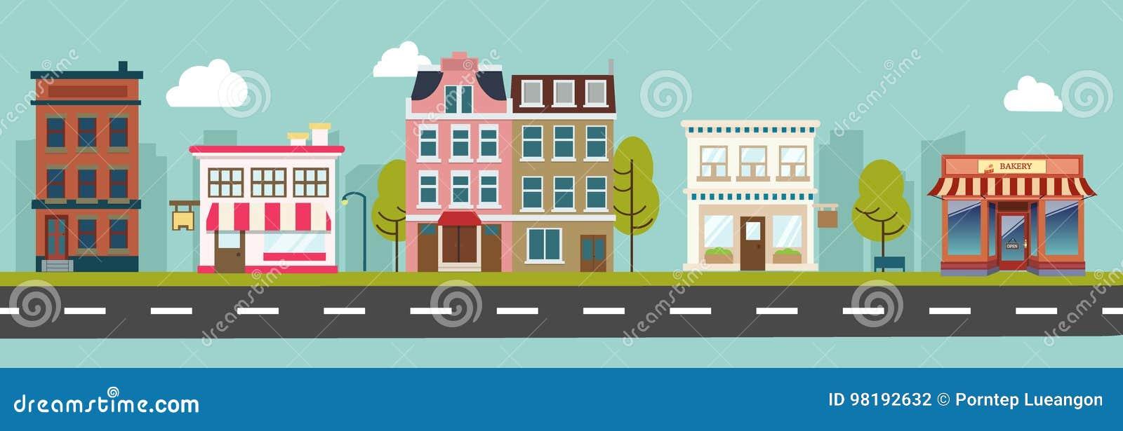 Vecteur de rue principale de ville et de bâtiments de magasin
