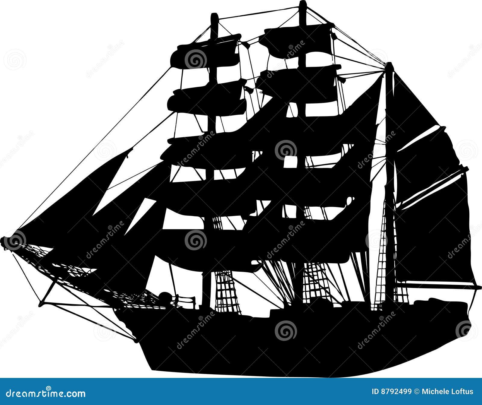 Vecteur de silhouette de bateau de bateau à voiles