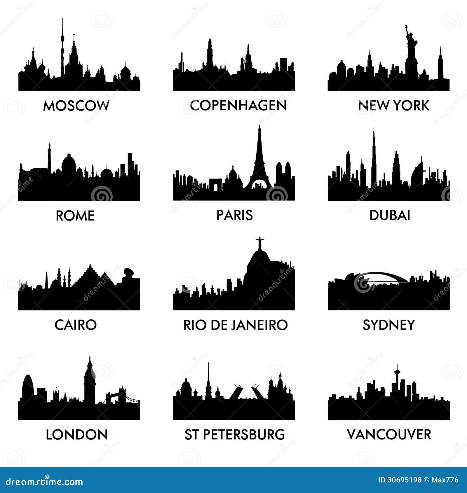 Vecteur de silhouette de ville
