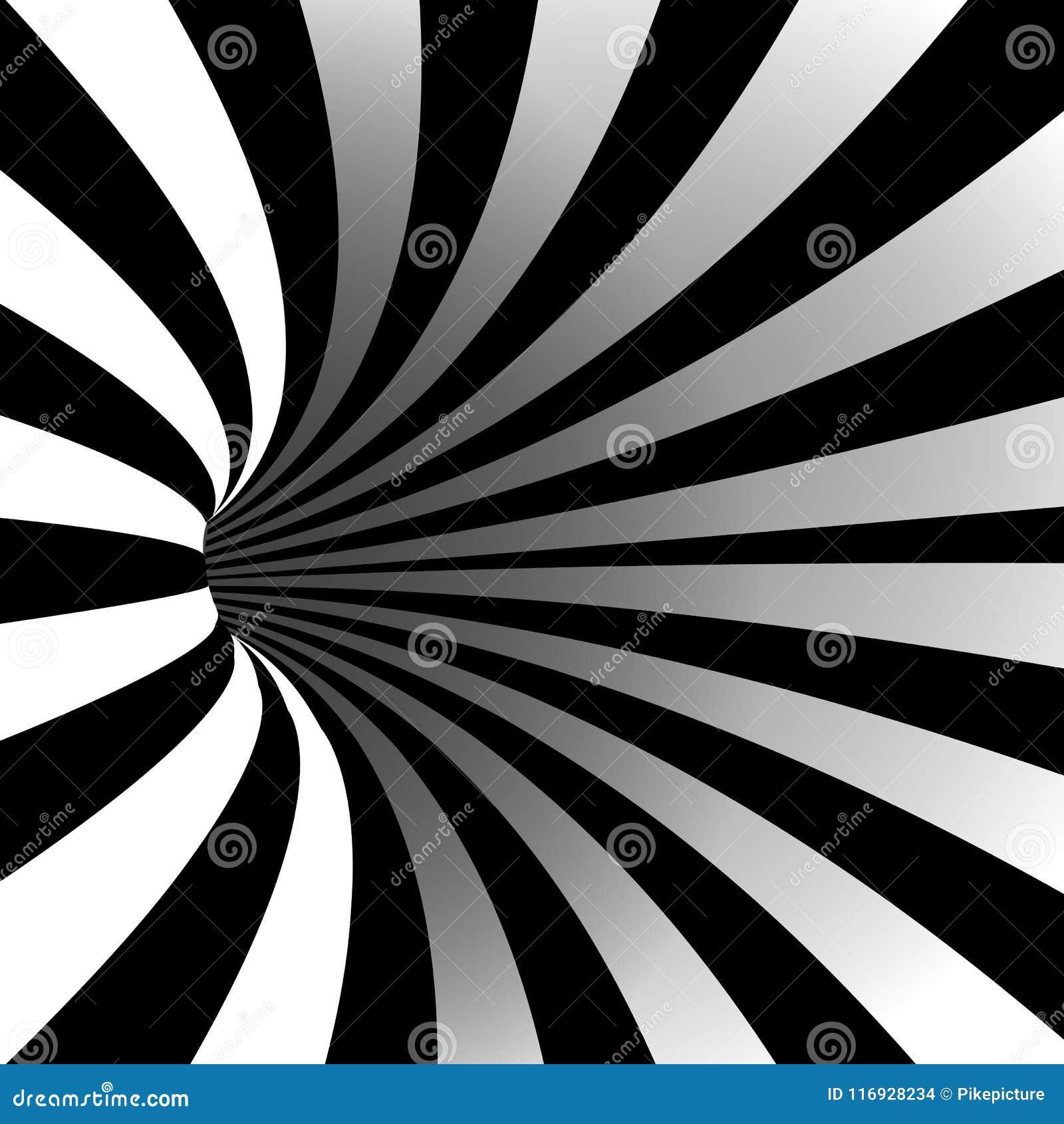 Vecteur De Vortex En Spirale Illusion Art Optique Tunnel Rayé De
