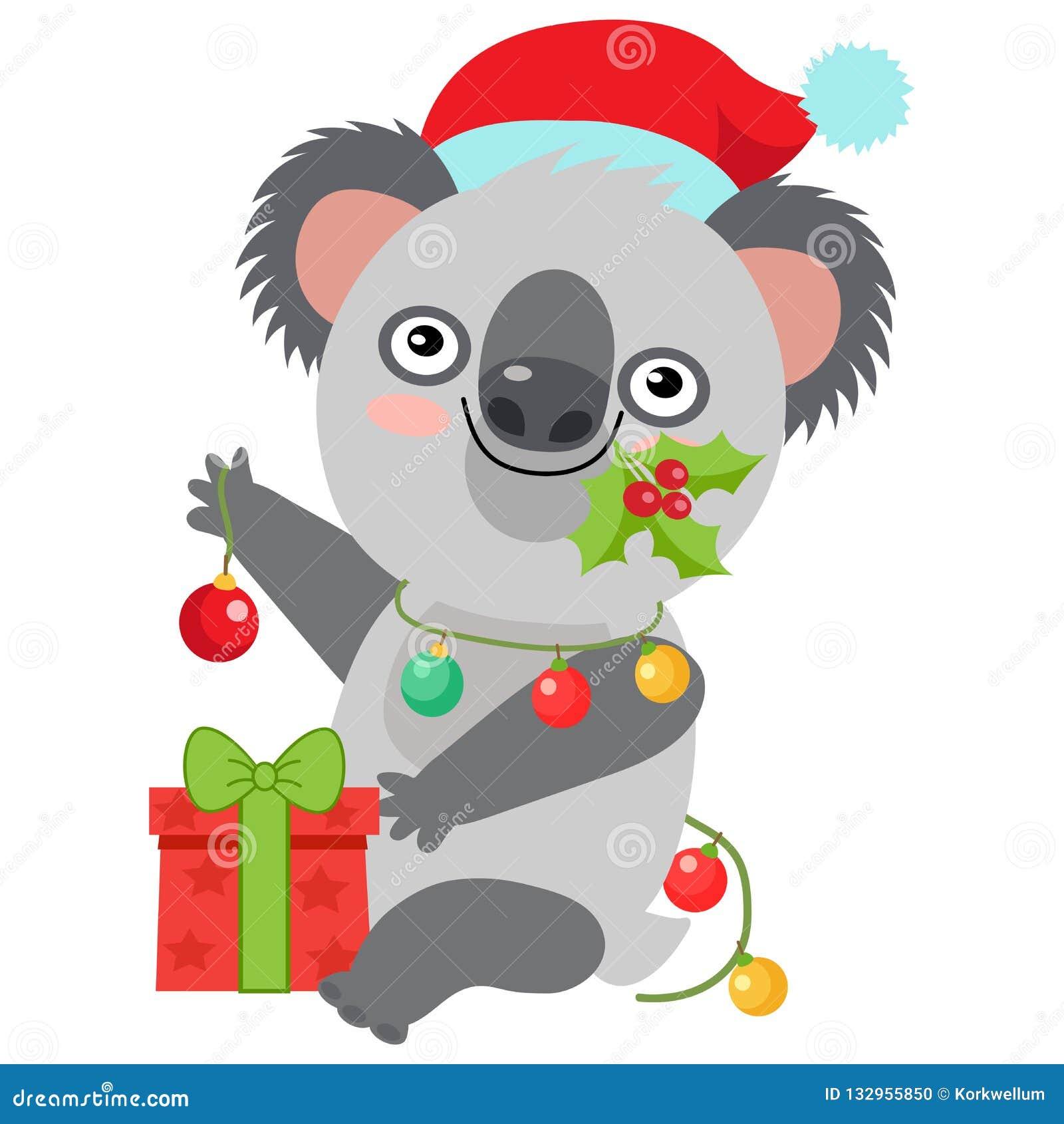 Carte Noel Australie.Vecteur Drole De Noel De Koala Joyeux Noel De Carte De Noel