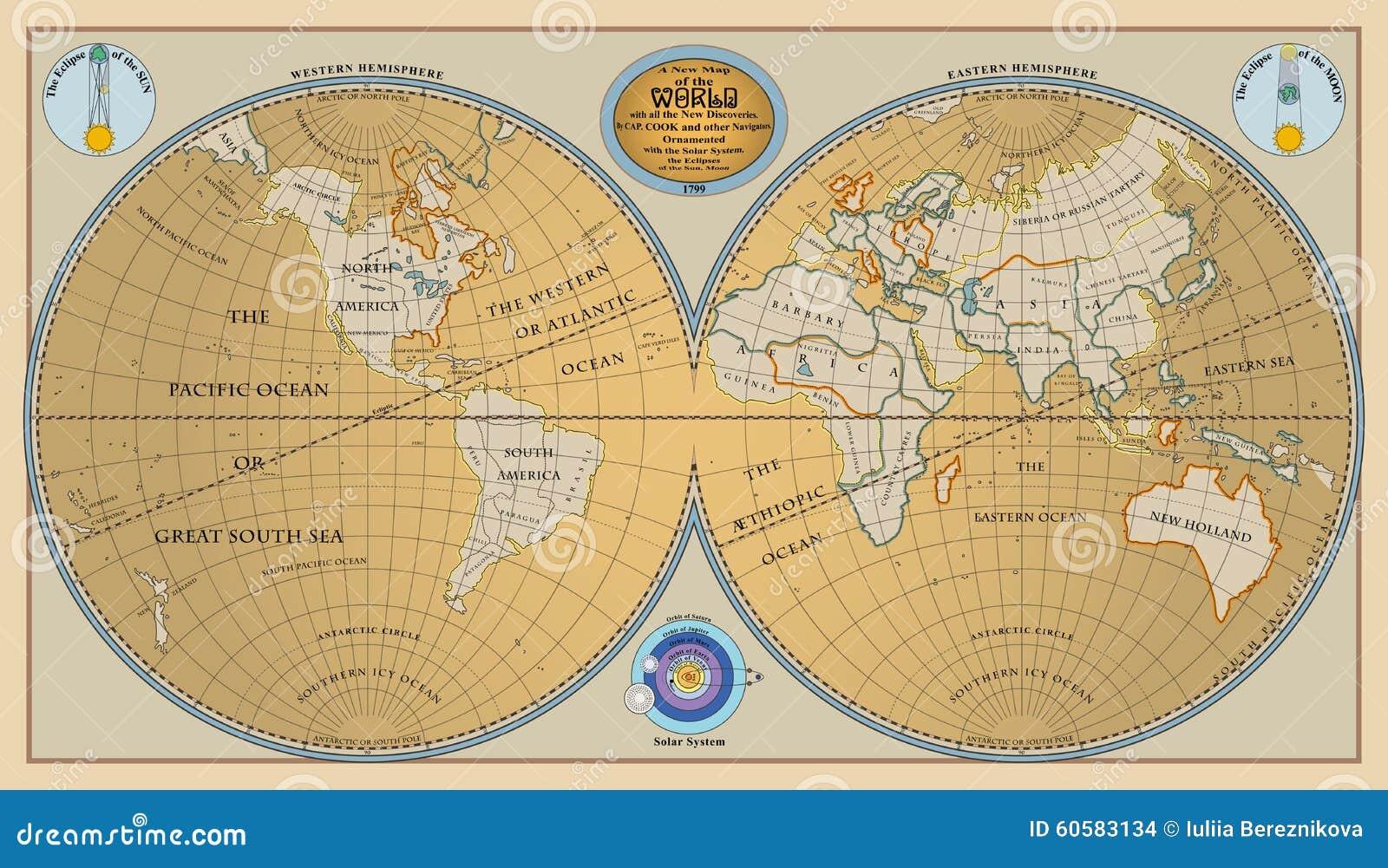 vecteur du vieux globe carte de monde avec de nouvelles d couvertes de 1799 illustration de. Black Bedroom Furniture Sets. Home Design Ideas