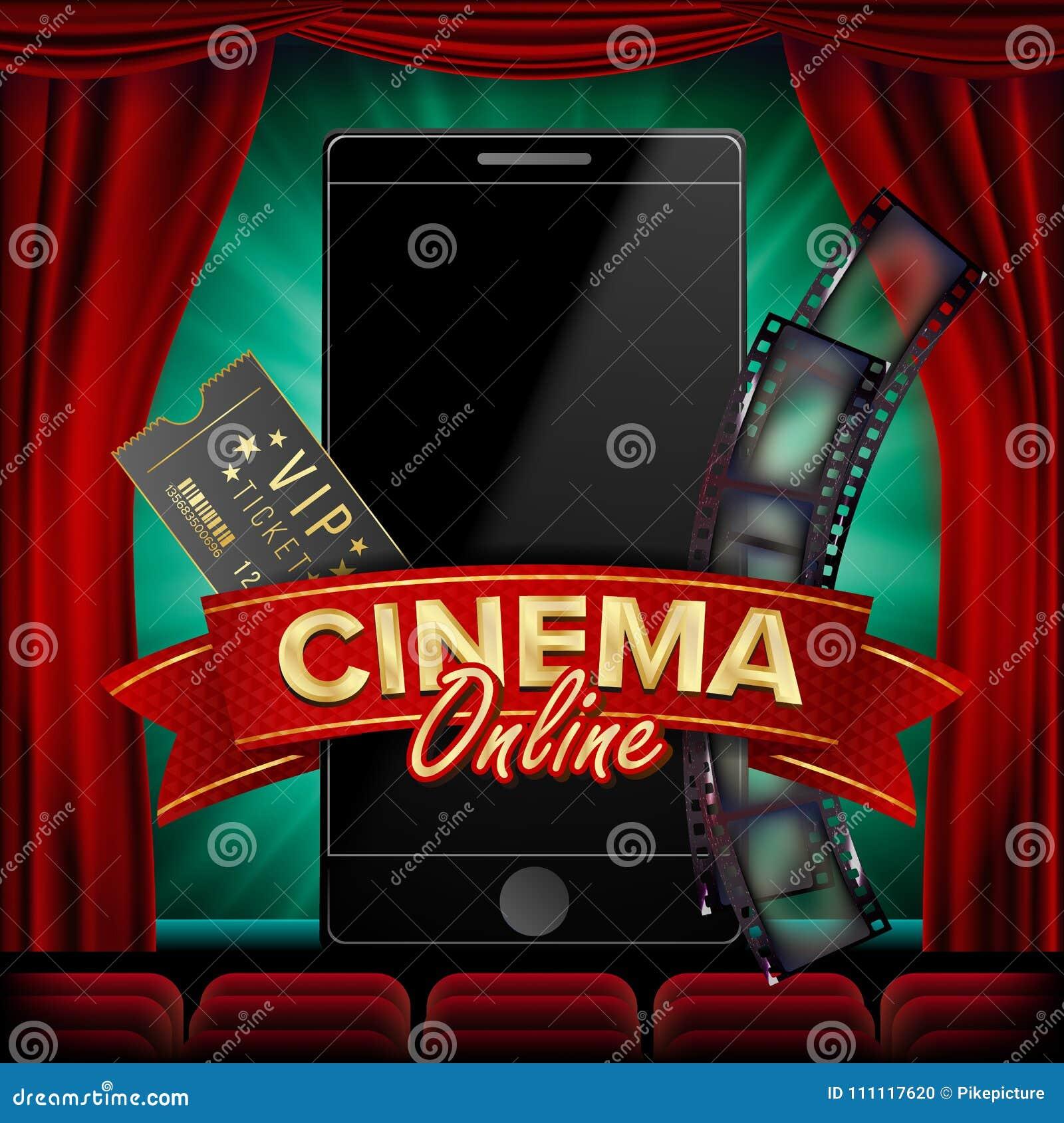 Vecteur en ligne d affiche de cinéma Concept futé mobile moderne de téléphone Bon pour l insecte, bannière, vente Bobine de film,