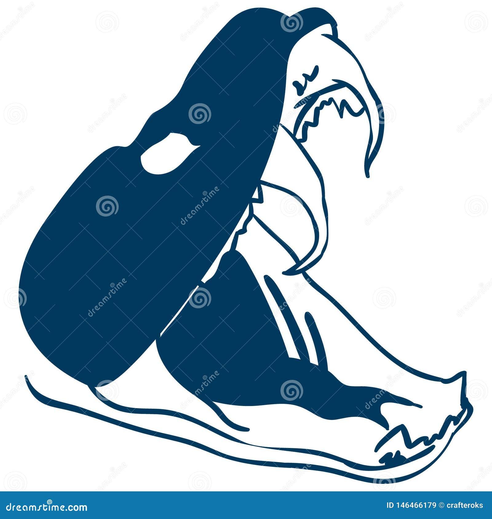 Vecteur ENV tiré par la main, vecteur, ENV, logo, icône, illustration de serpent à sonnettes de silhouette par des crafteroks pou