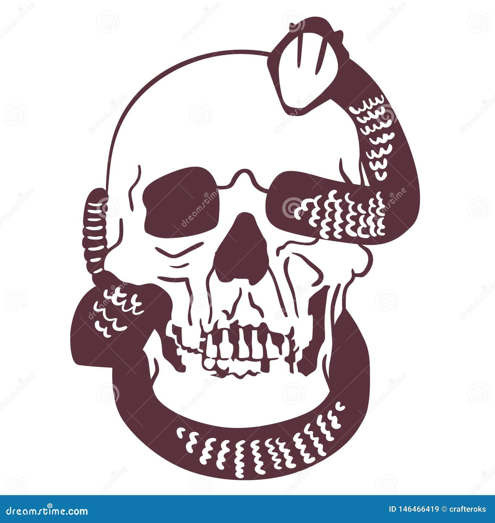 Vecteur ENV tir? par la main, vecteur, ENV, logo, ic?ne, illustration de serpent ? sonnettes de silhouette par des crafteroks pou