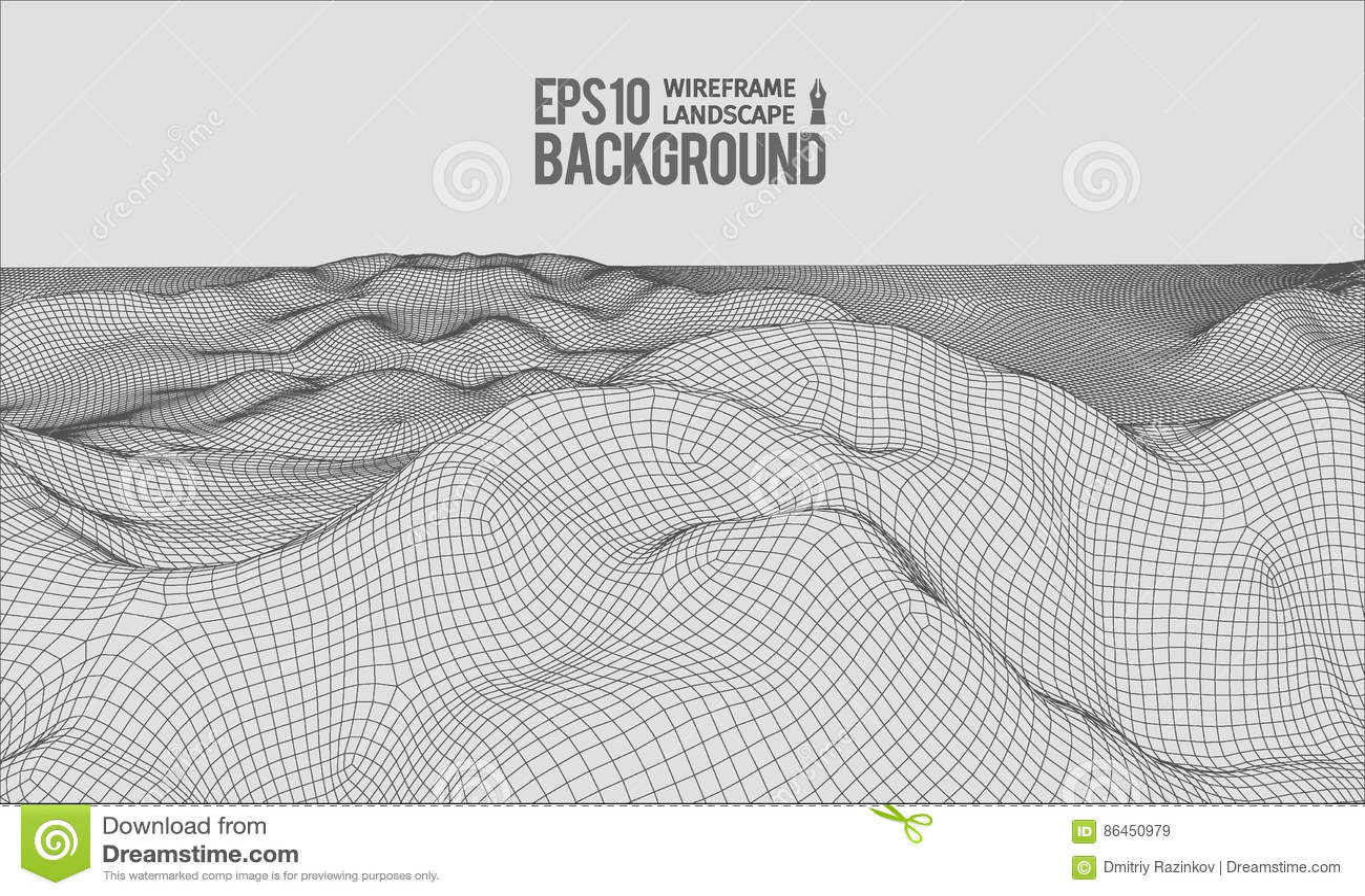 Vecteur EPS10 grand-angulaire de terrain de 3D Wireframe