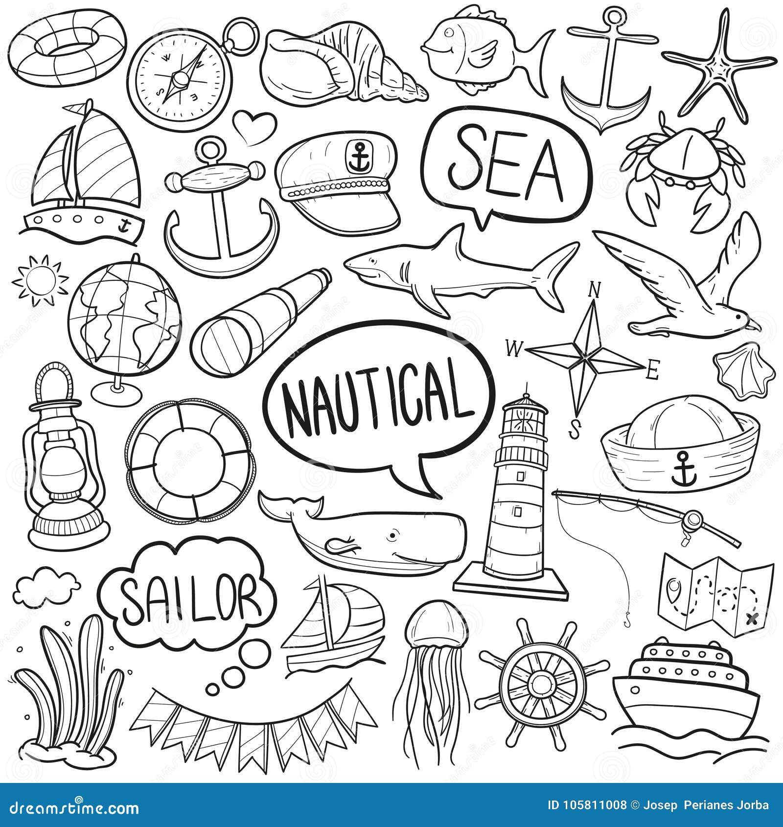 Vecteur fabriqué à la main de conception de mer de sport de griffonnage de croquis traditionnel nautique d icônes